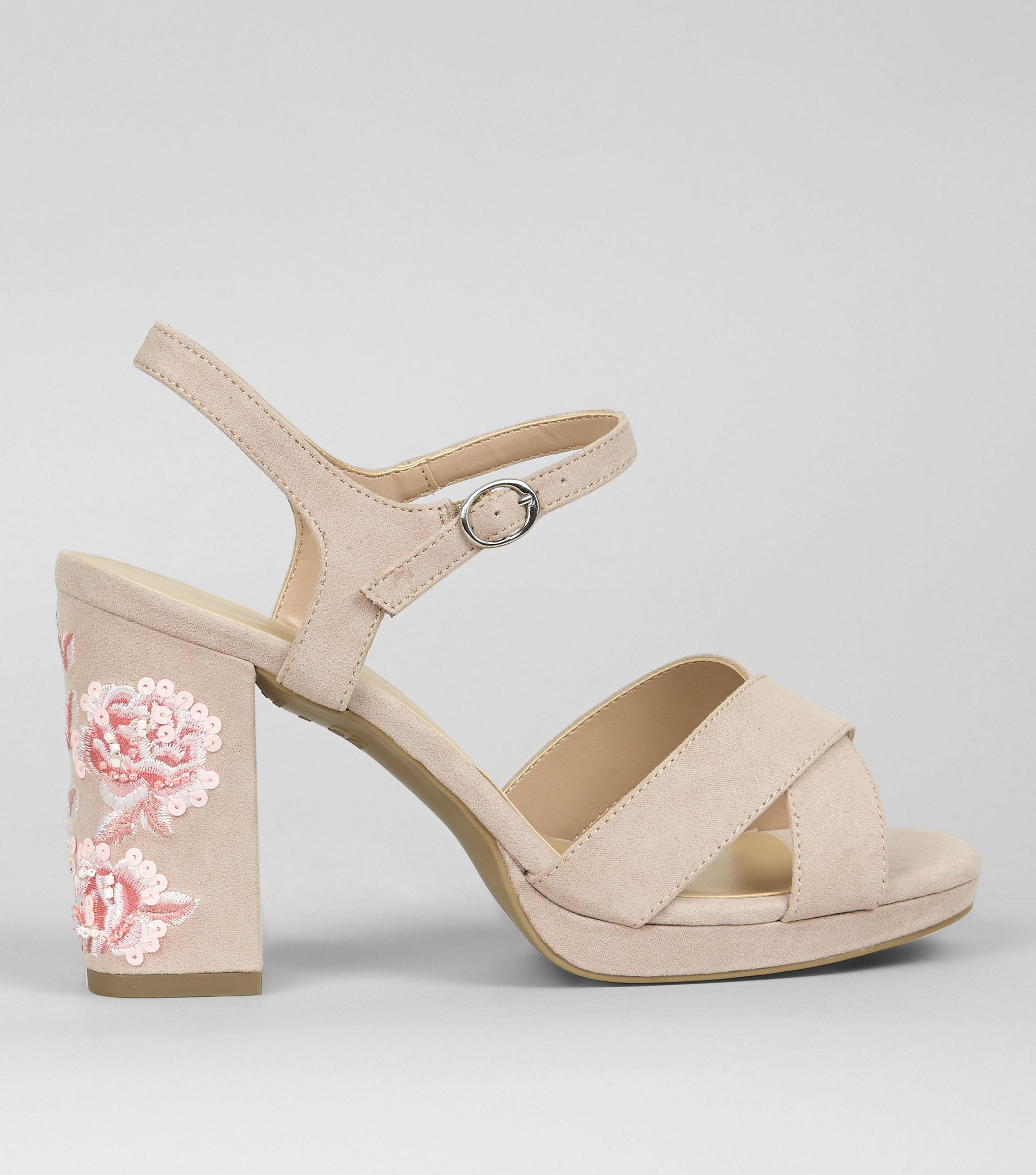 3407ce423ee New Look Wide Fit Nude Pink Floral Embroidered Block Heels in ...