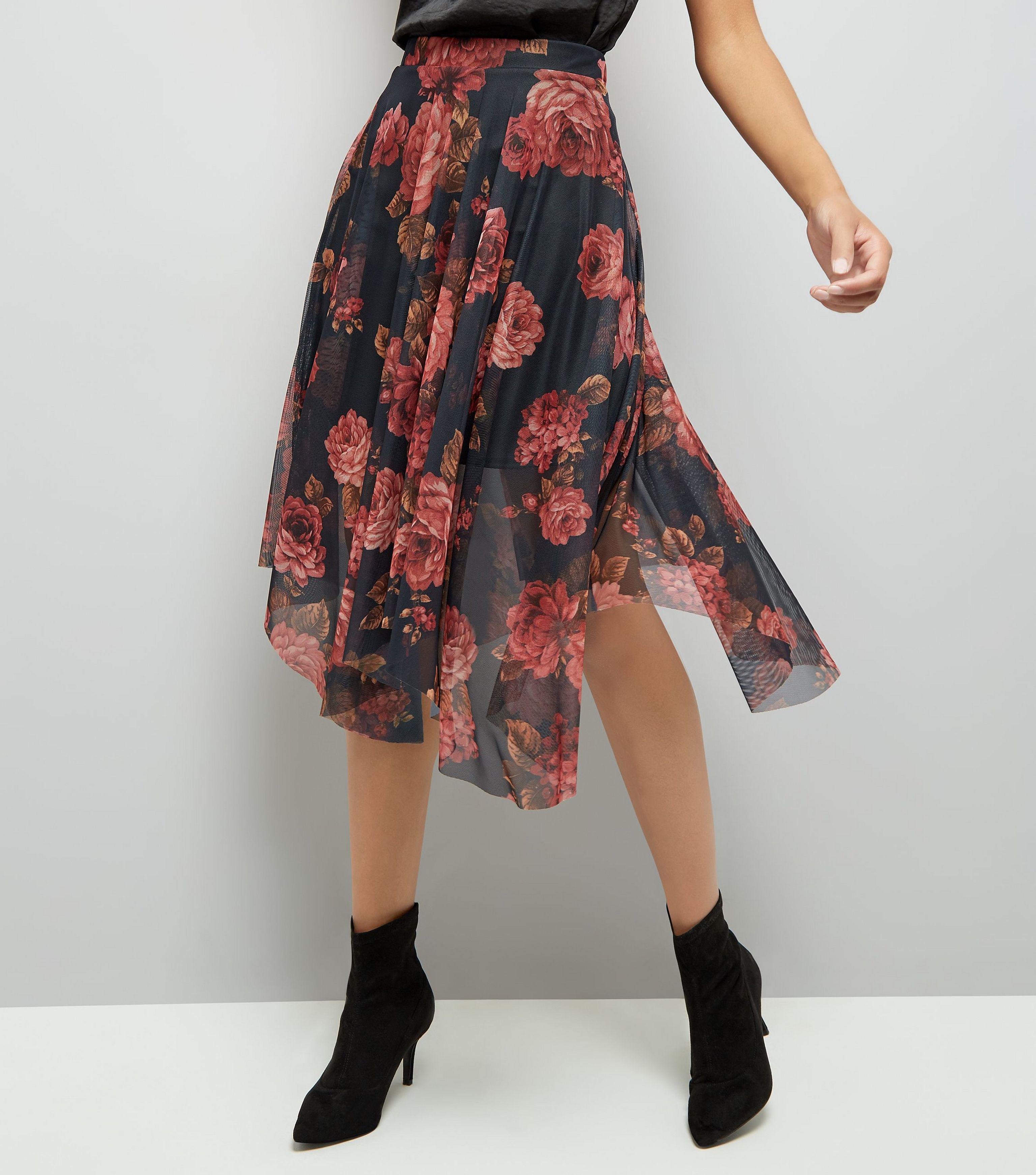 d4d2910522 New Look Black Floral Print Mesh Hanky Hem Midi Skirt in Black - Lyst