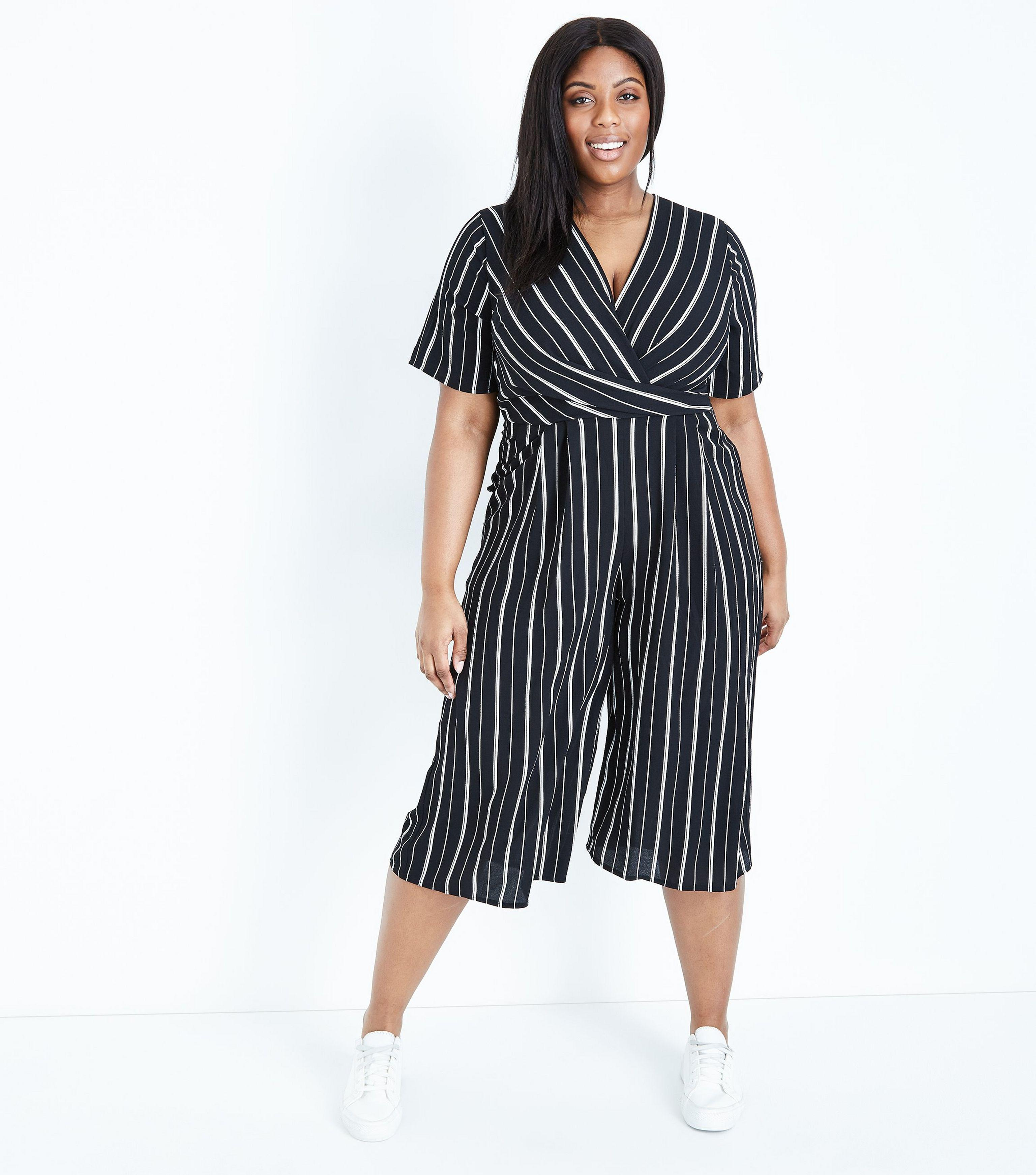 34625b0a7a5 New Look Curves Black Stripe Wrap Culotte Jumpsuit in Black - Lyst