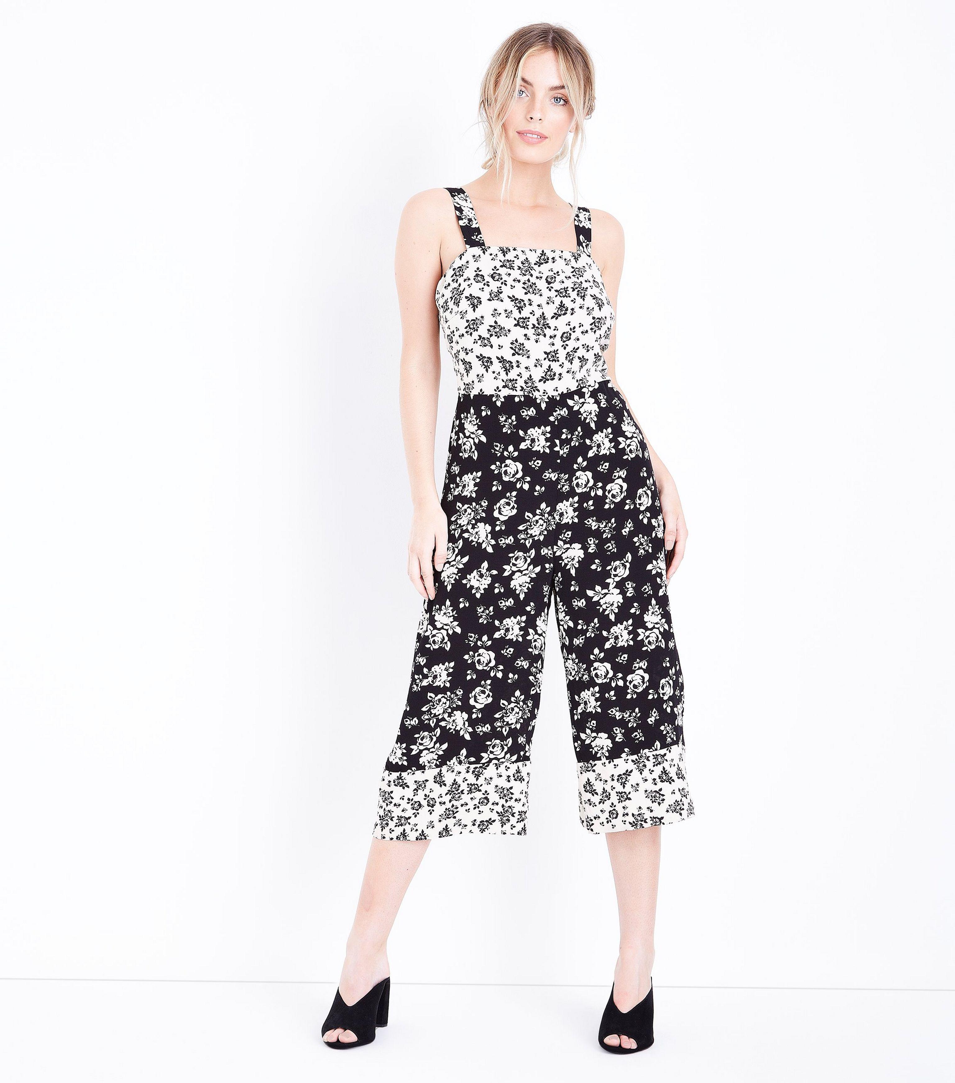 3960142c9ff8 New Look Petite Black Floral Culotte Jumpsuit in Black - Lyst
