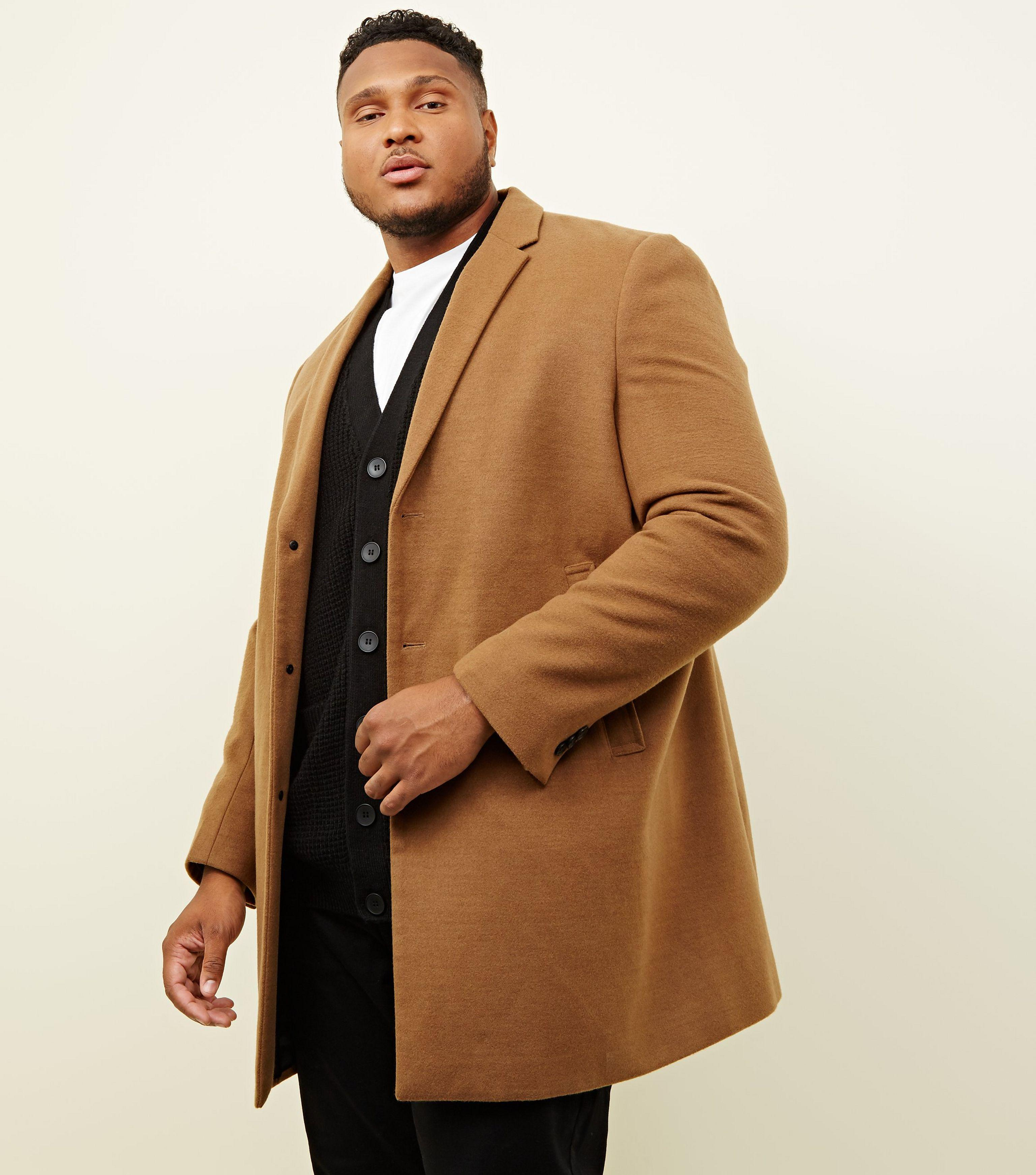 c575c2b8d29 New Look Plus Size Camel Overcoat in Natural for Men - Lyst