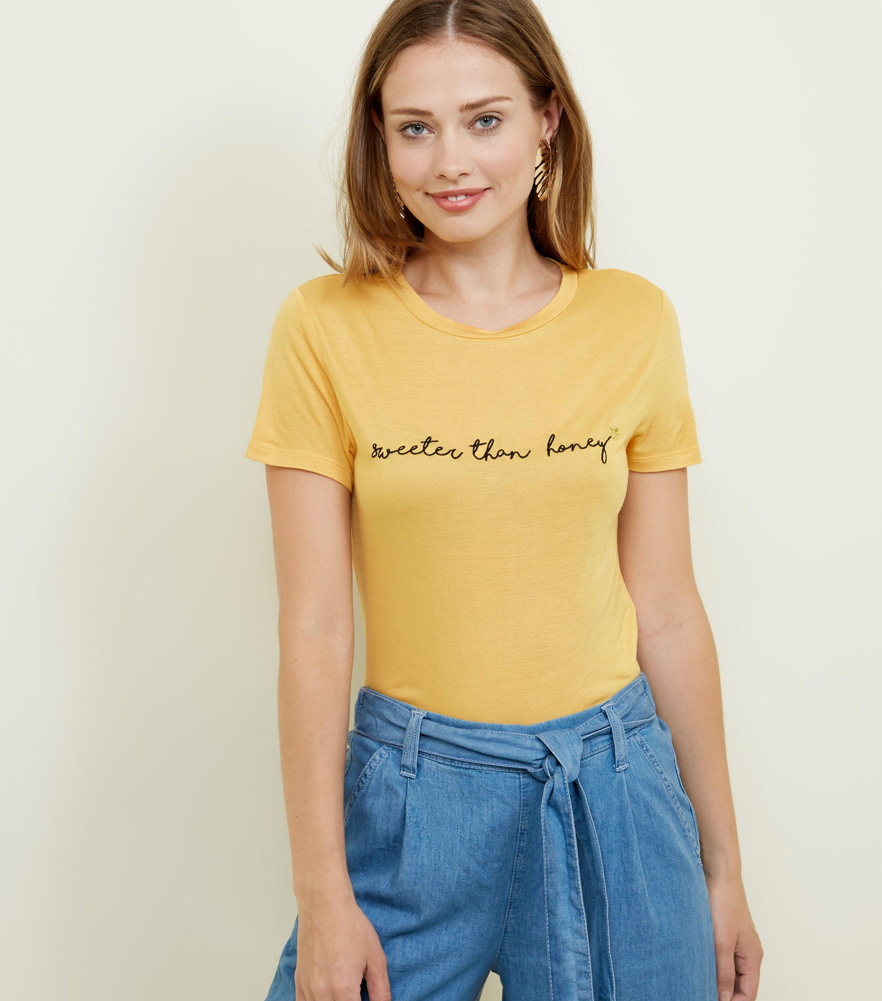 2c4190a165 New Look Mustard Sweeter Than Honey Slogan T-shirt in Yellow - Lyst