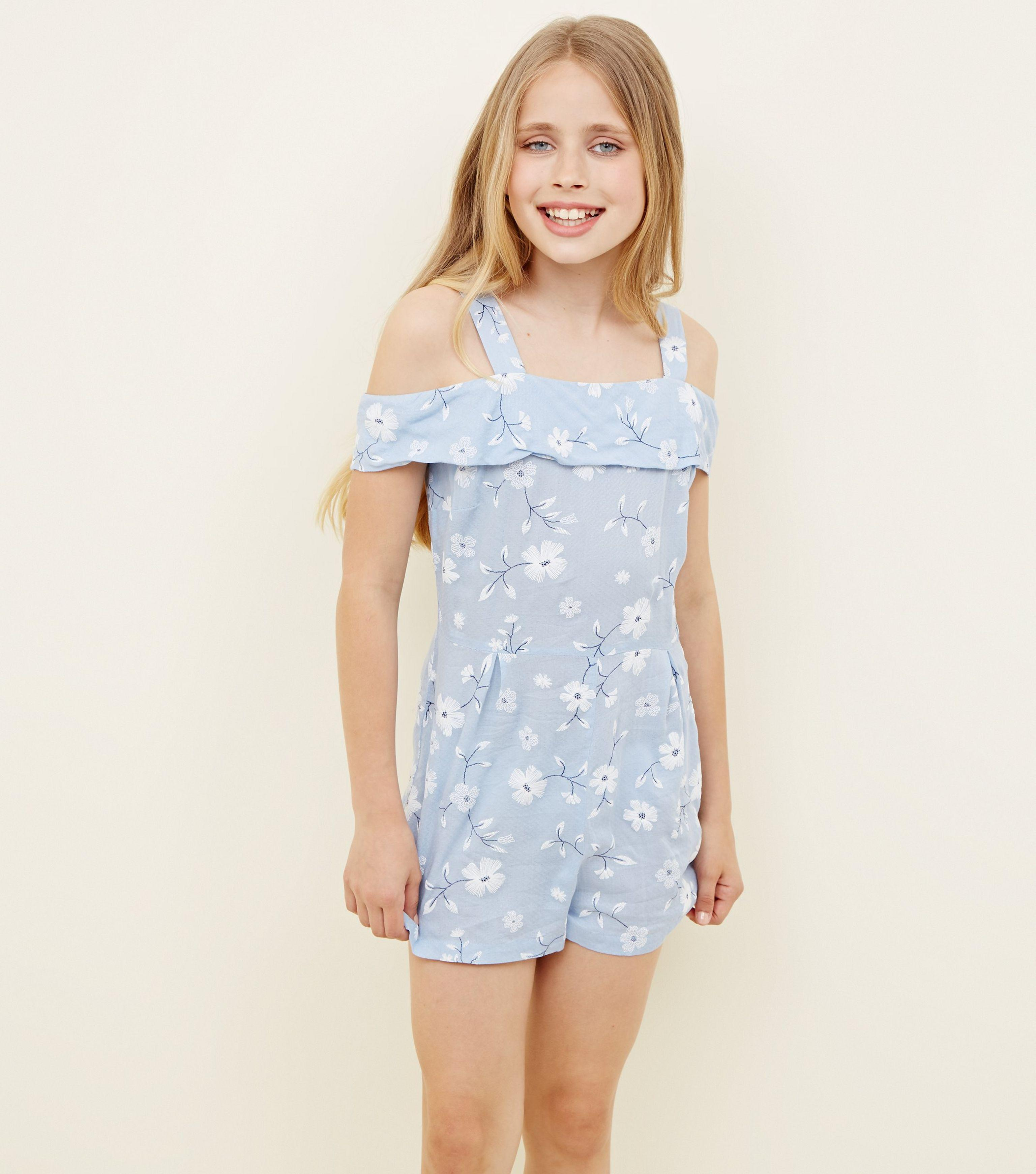 01ce7e7fc31f New Look Girls Blue Floral Puff Print Bardot Playsuit in Blue - Lyst