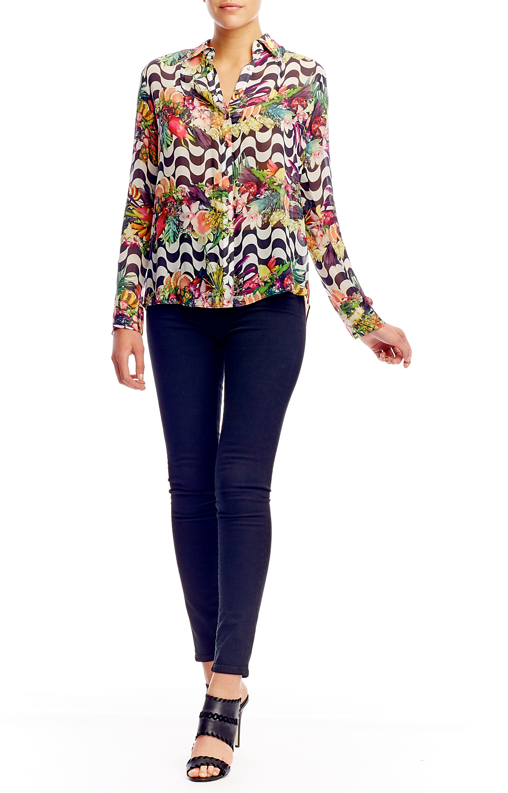 Nicole miller Sidewalk Fruit Stripe Shirt in Blue
