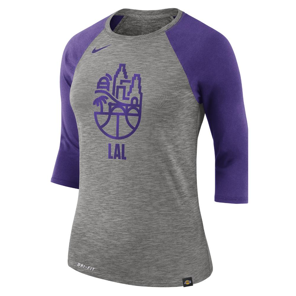 08999763fde Lyst - Nike Los Angeles Lakers Dry Women s 3 4 Sleeve Nba T-shirt