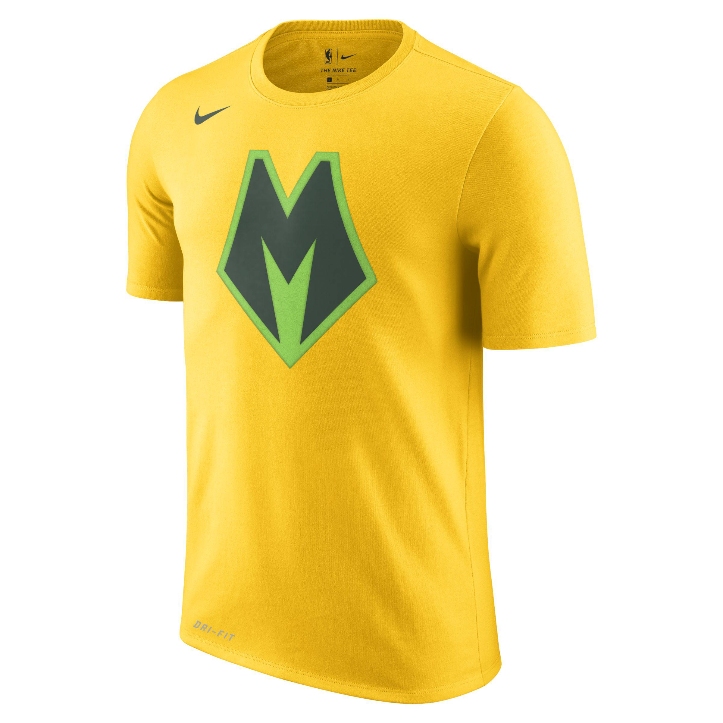 Nike Milwaukee Bucks City Edition Dri-fit Nba T-shirt in Yellow for ... 454047969