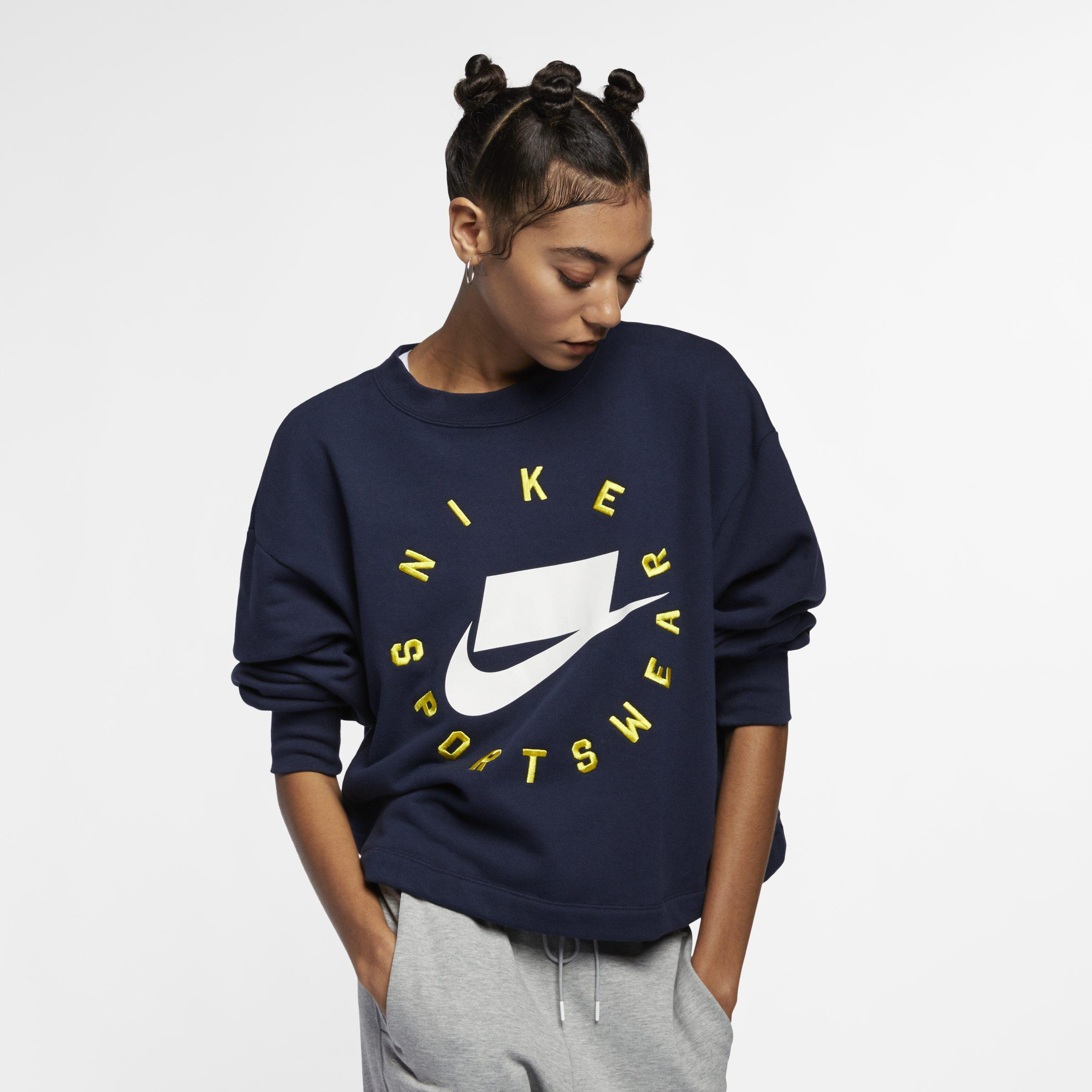6f7450c93ecb Nike Sportswear Nsw French Terry Crew in Blue - Lyst