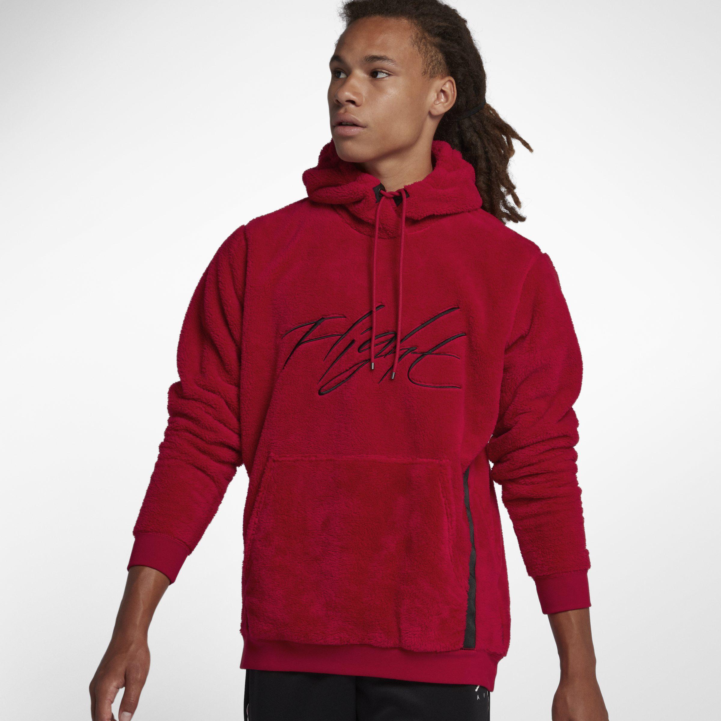 c5d53b5adedfdb Nike Jordan Sportswear Wings Of Flight Sherpa Pullover Hoodie in Red ...