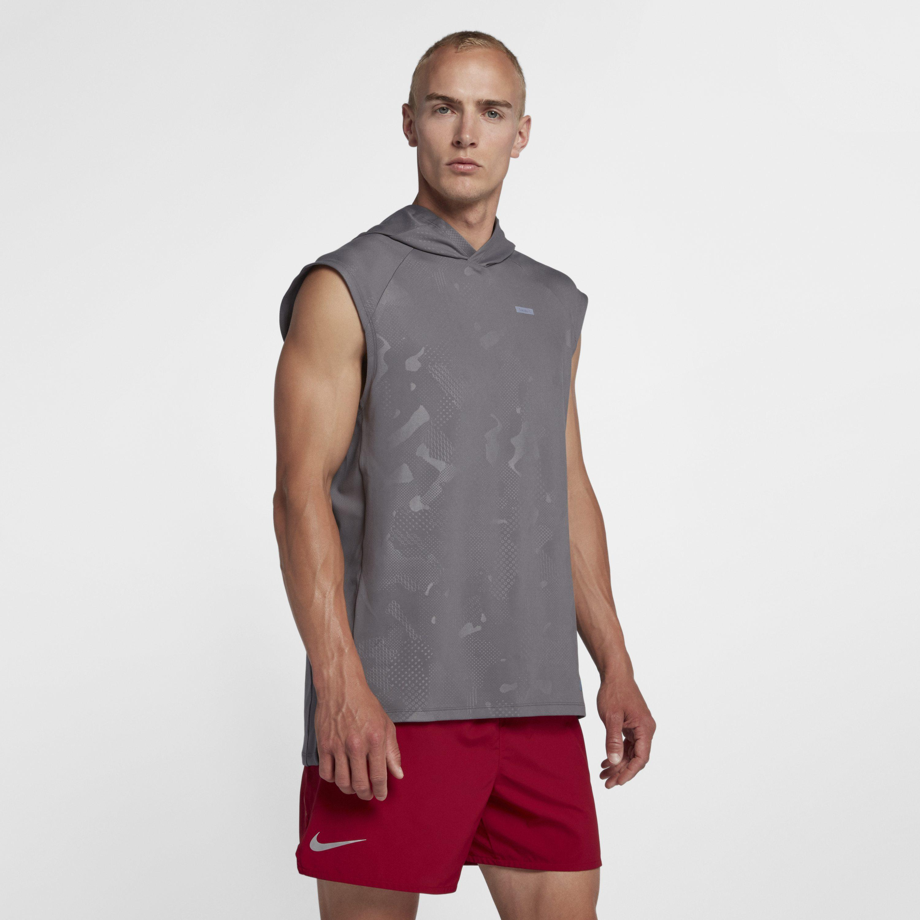 05f95471fb922 Nike Sleeveless Running Hoodie in Gray for Men - Save 31% - Lyst
