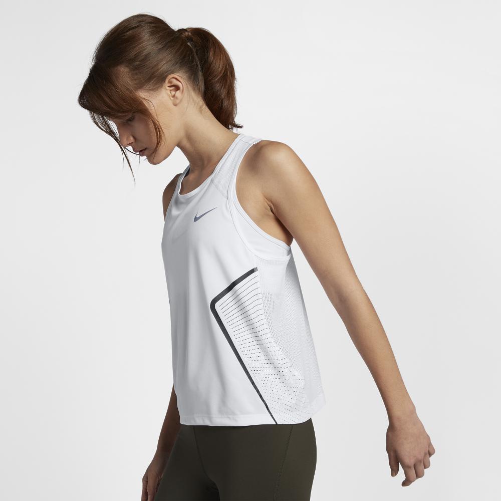 59cc2a348bbad Nike - White Dri-fit Miler Women s Running Tank Top - Lyst. View fullscreen