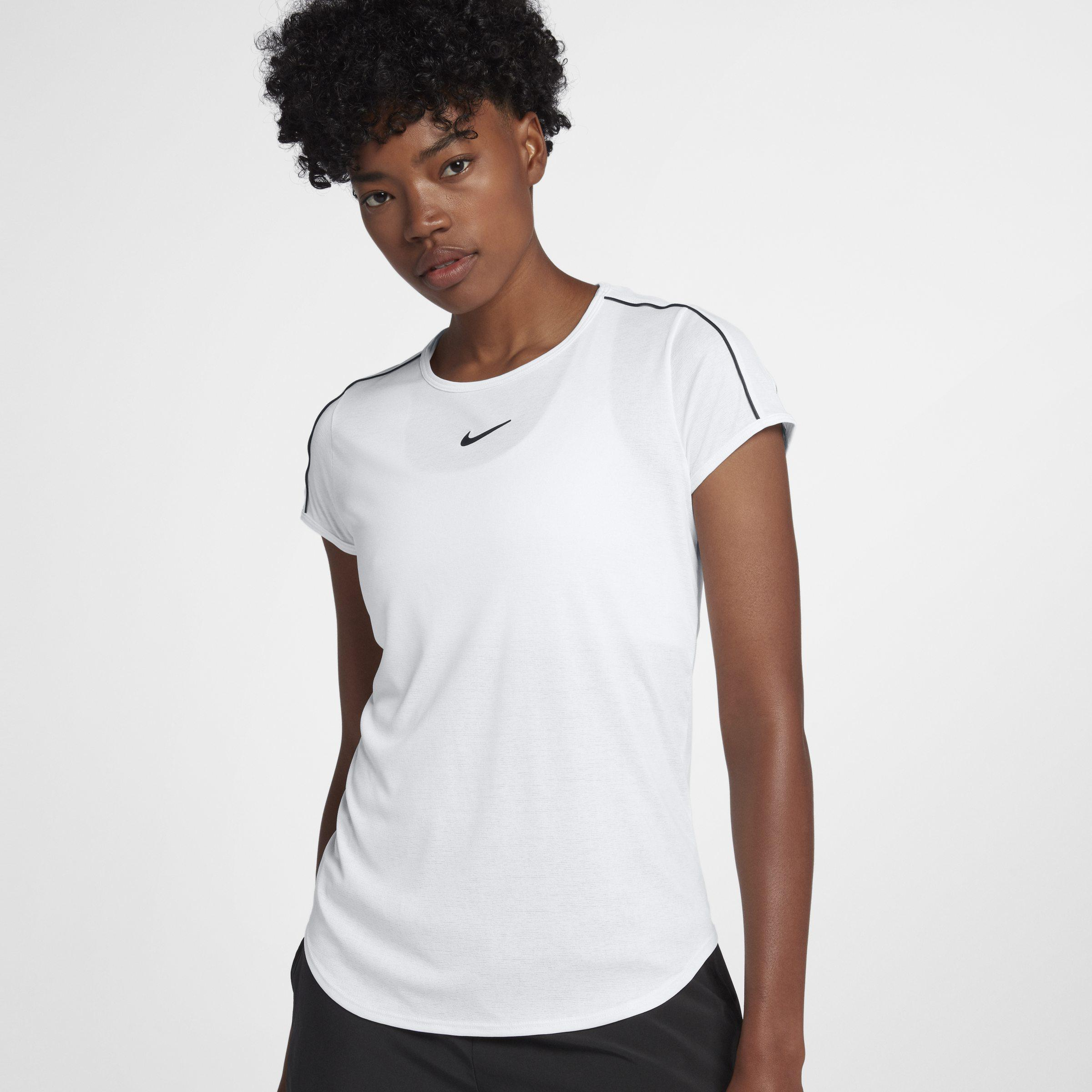 51971941a25d Nike Court Dri-fit Short-sleeve Tennis Top in White - Lyst