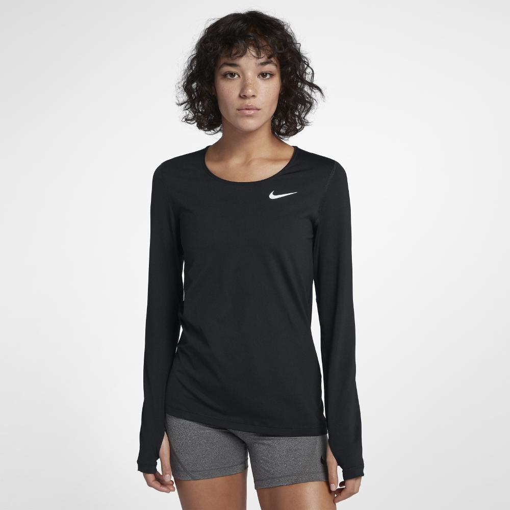 9fbc071e9efa5 Lyst - Nike Pro Women's Long Sleeve Training Top in Black