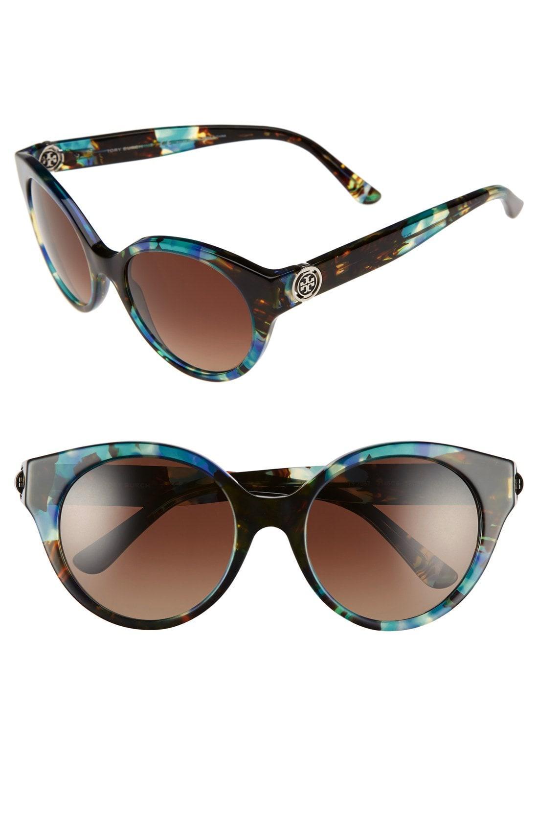 b17377fd1073 Lyst - Tory Burch 52mm Polarized Cat Eye Sunglasses - Tort Blue in Blue