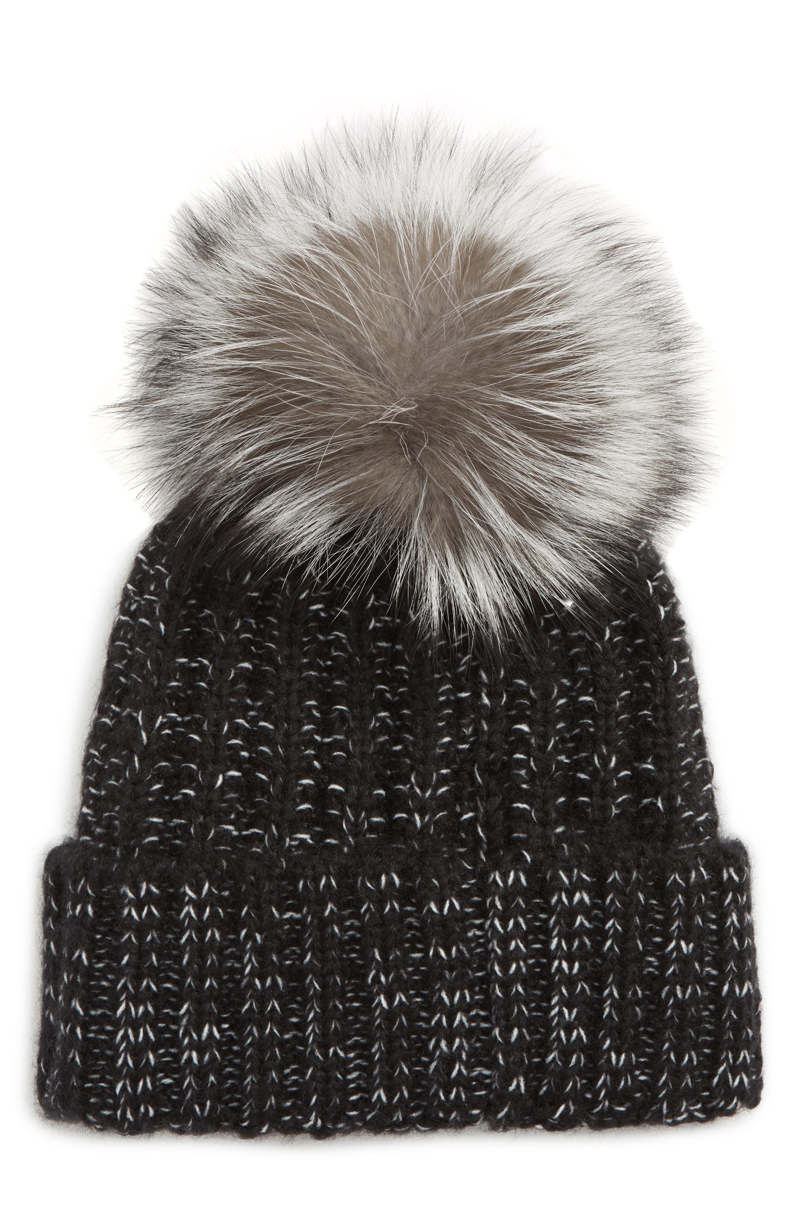 2f252ea880d93 Lyst - Kyi Kyi Beanie With Genuine Fox Fur Pom -