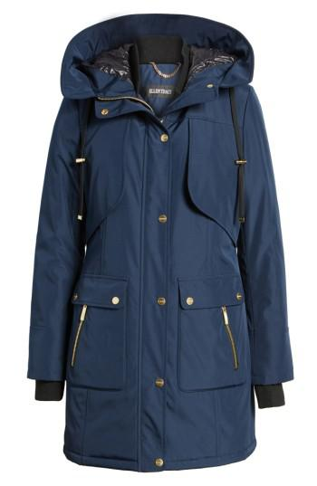 Lyst Ellen Tracy Quilted Techno Parka In Blue