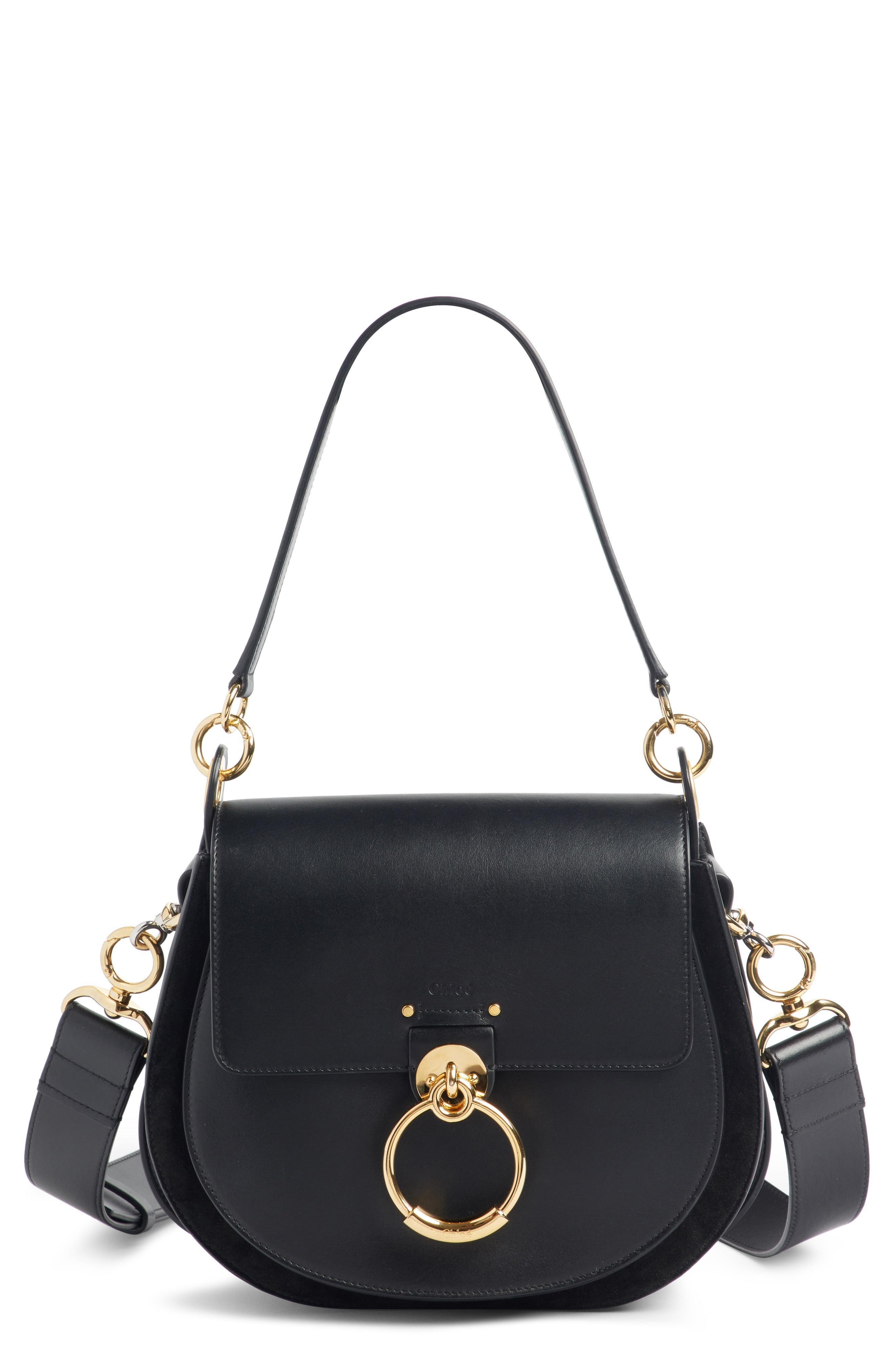 c74b862fbf94 Lyst - Chloé Medium Tess Calfskin Leather Shoulder Bag in Black