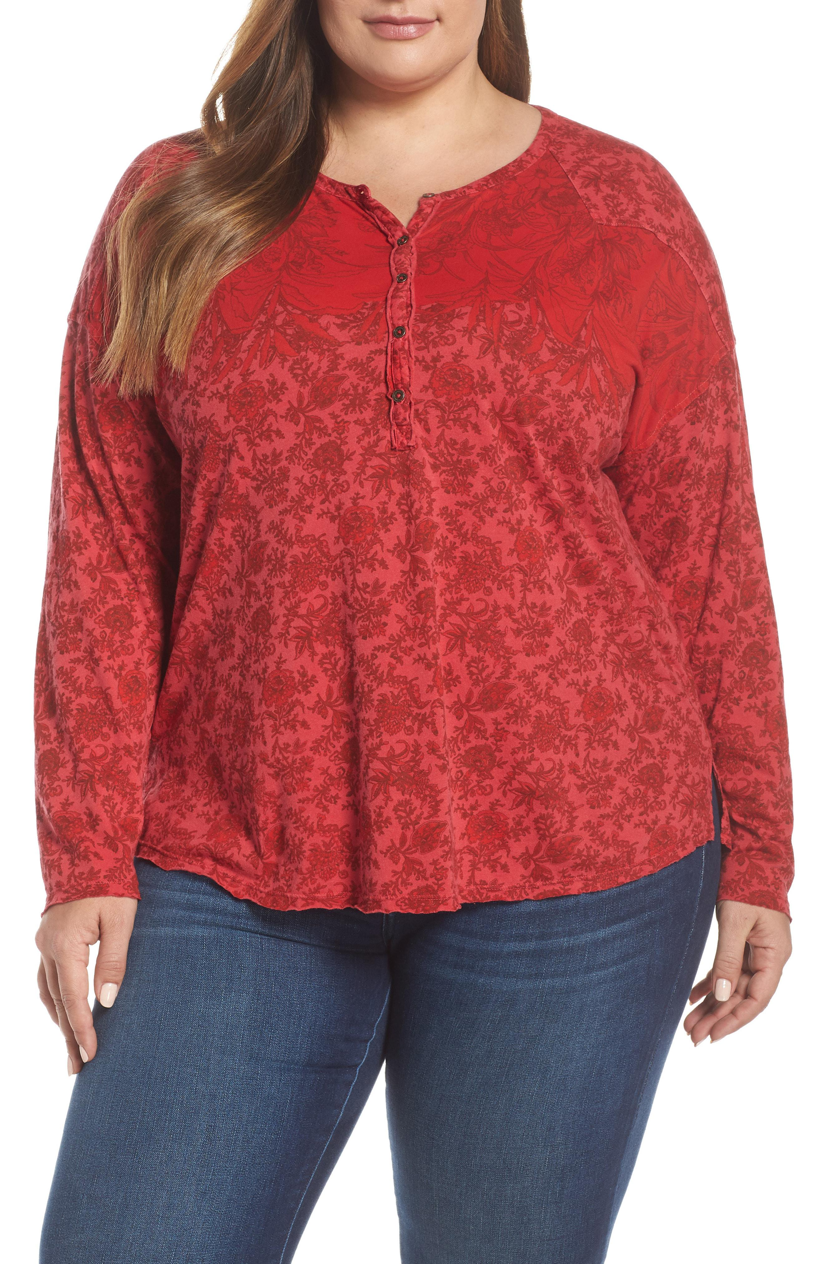 e447918eb7f Lyst - Lucky Brand Washed Western Henley Tee in Red