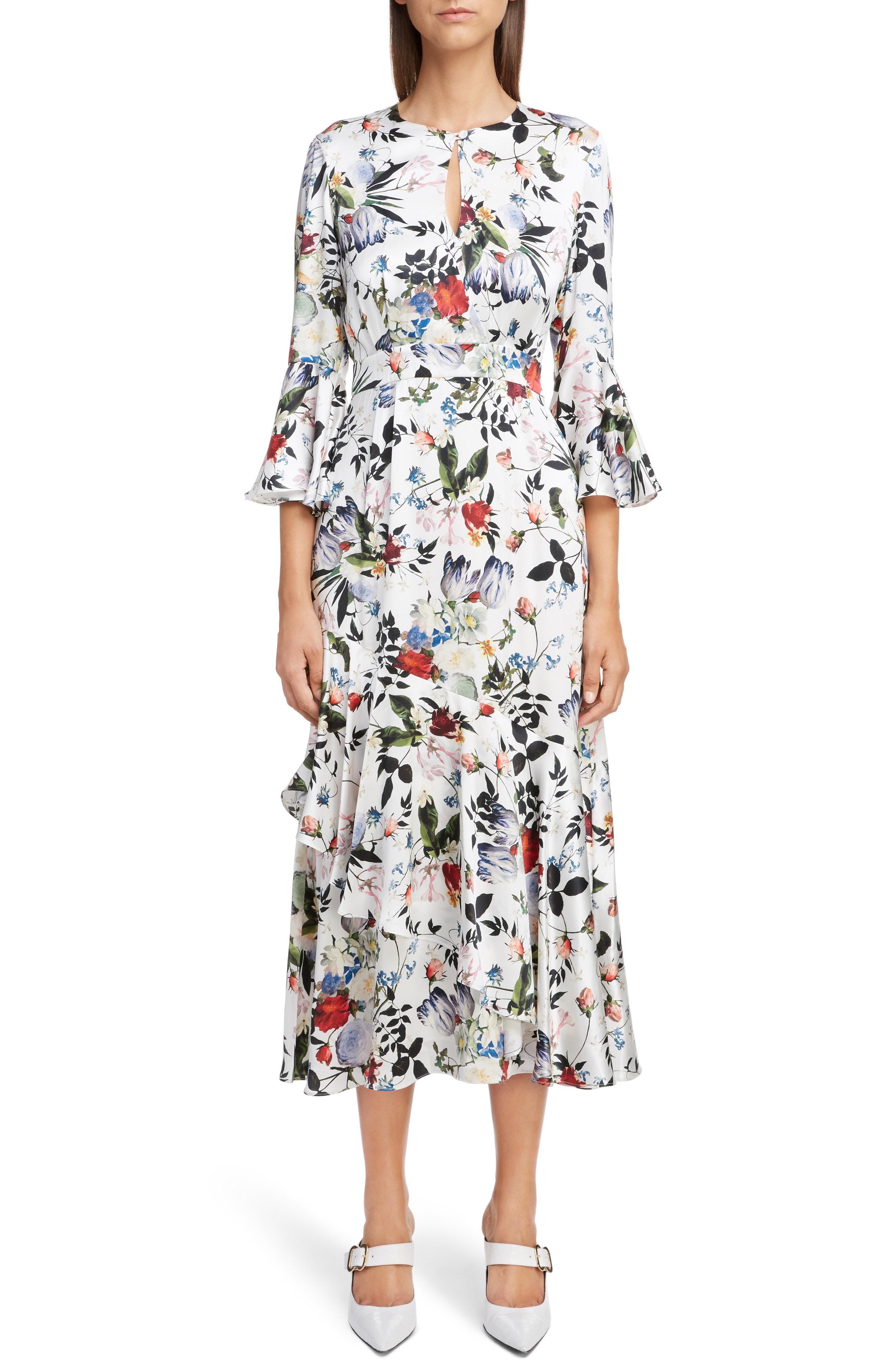 bbe9e28cc3f Erdem. Women s Floral Silk Satin Frill Midi Dress