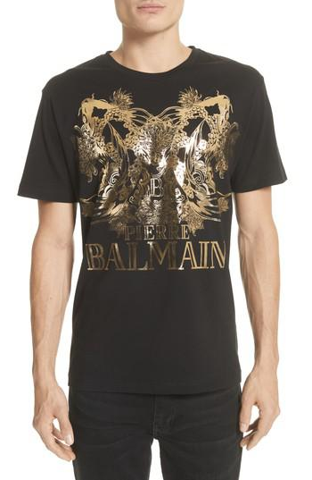 Lyst balmain foil print t shirt in black for men for Foil print t shirts custom