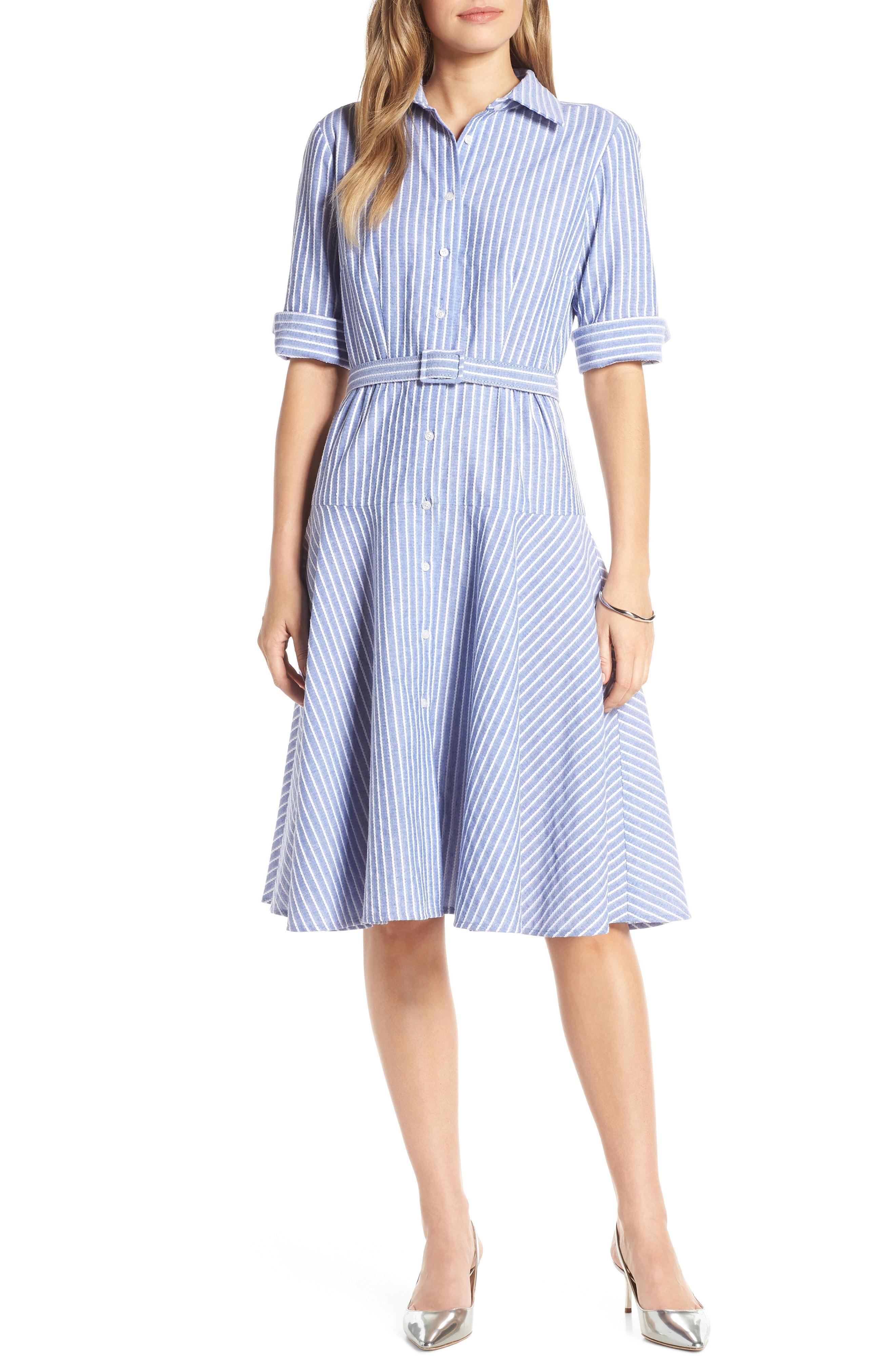 2da1df59eca Lyst - Nordstrom 1901 Stripe Belted Shirtdress in Blue