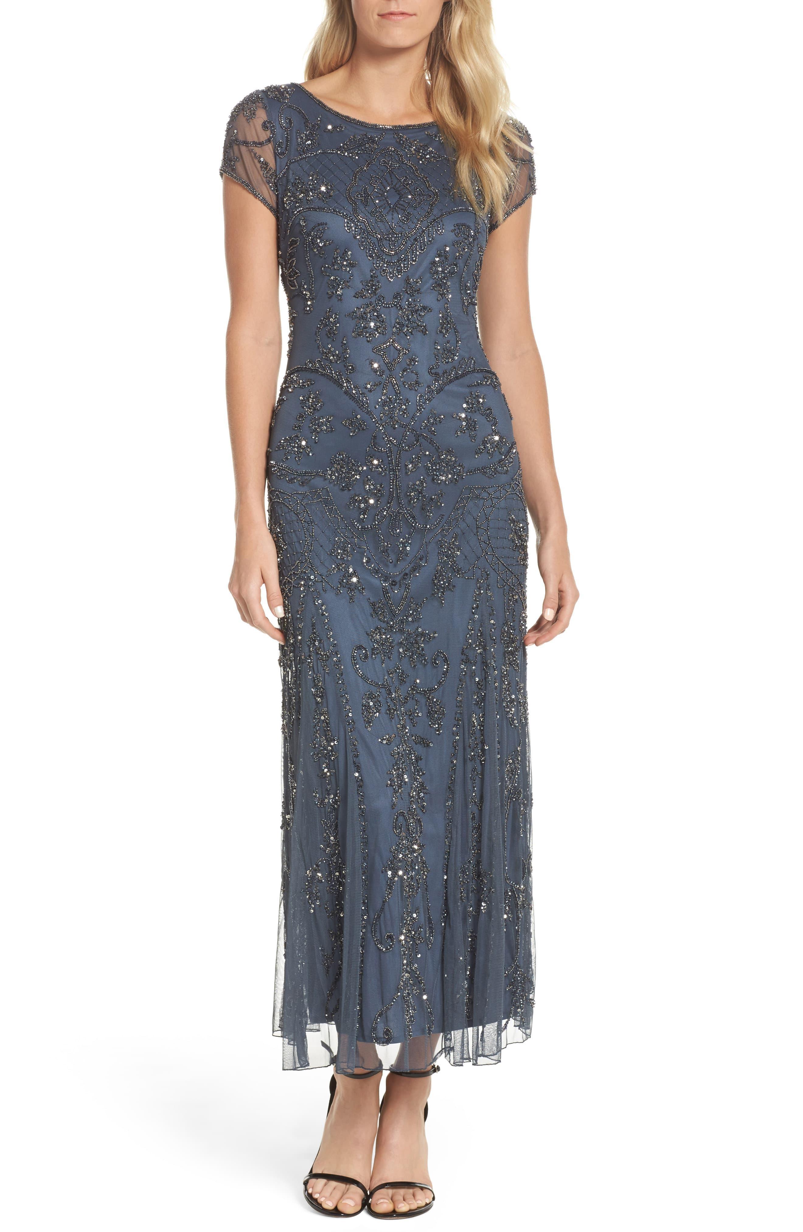 34748076204 Pisarro Nights Embellished Mesh Gown in Purple - Lyst