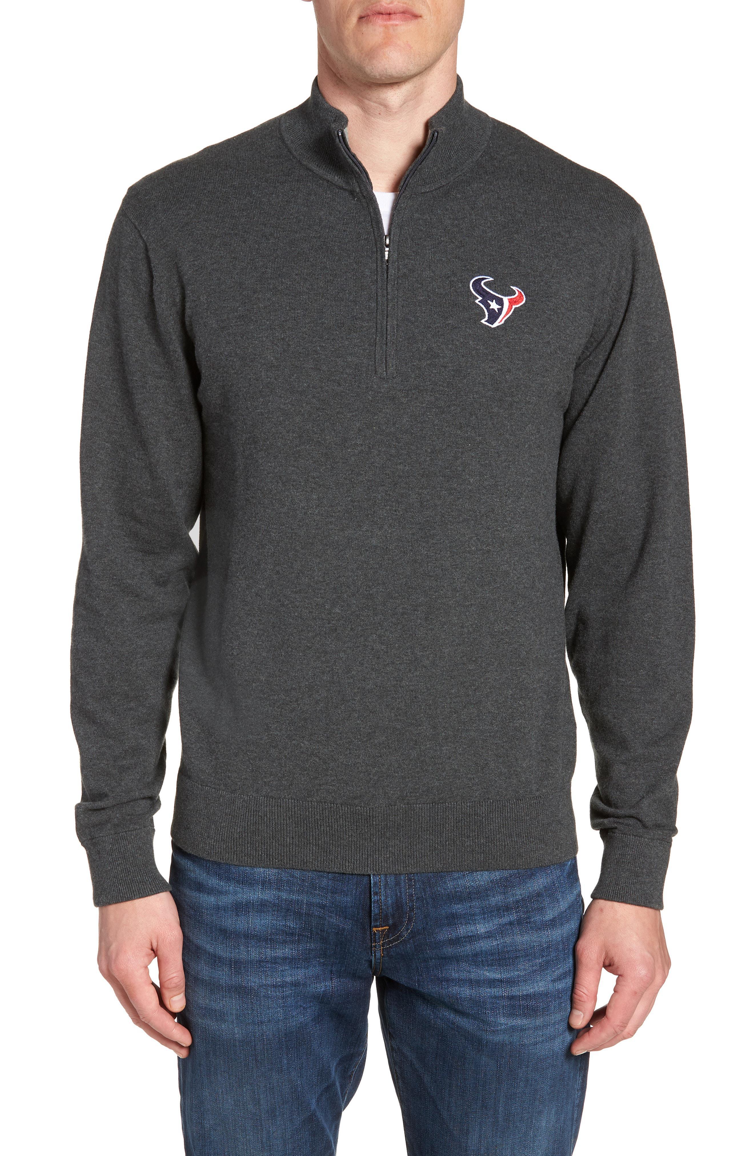 Cutter   Buck. Men s Black Houston Texans - Lakemont Regular Fit Quarter  Zip Sweater 699d4304b