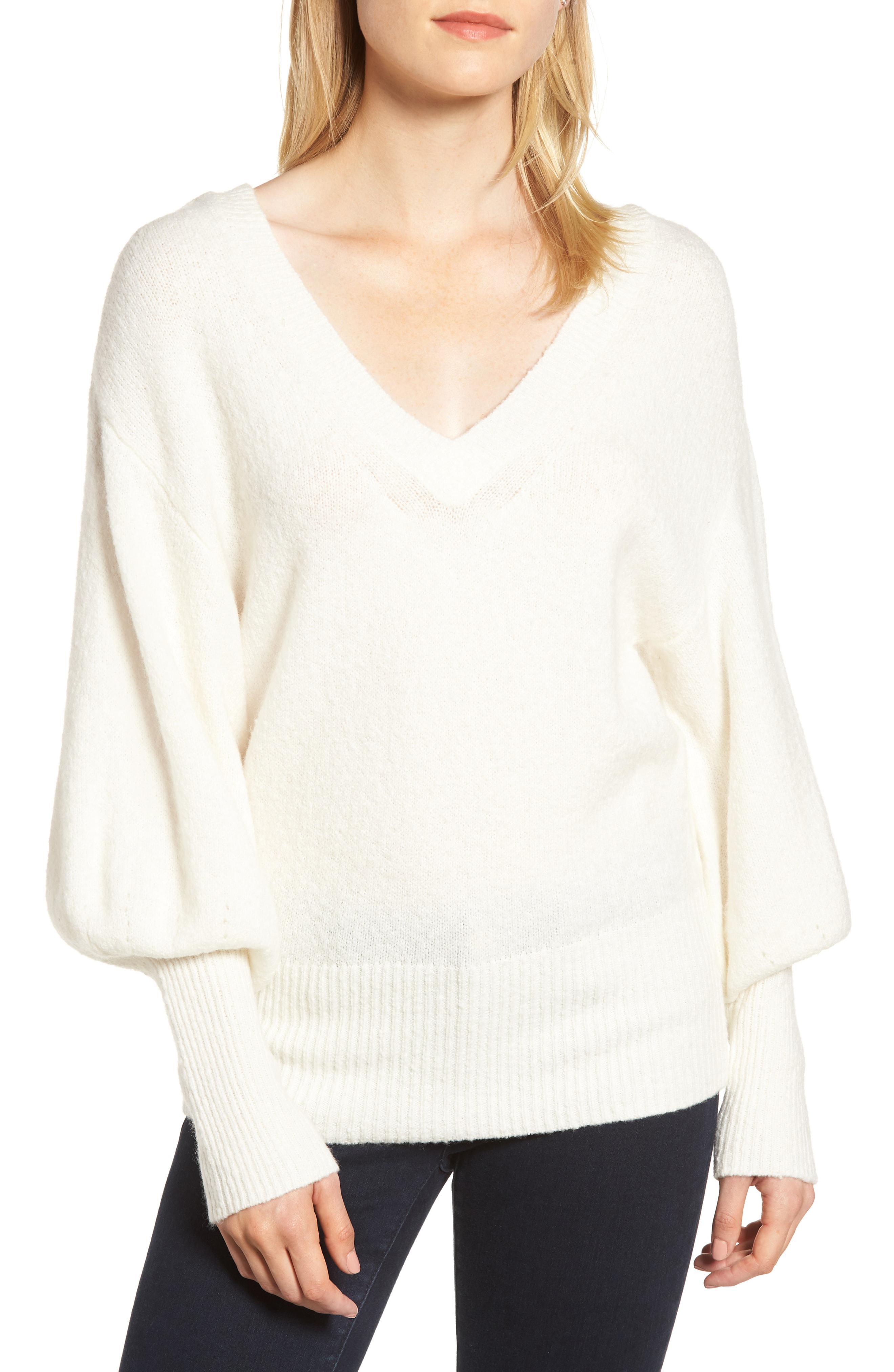 Lyst - Michael Michael Kors Blouson Sleeve Sweater in White 80dcb638e