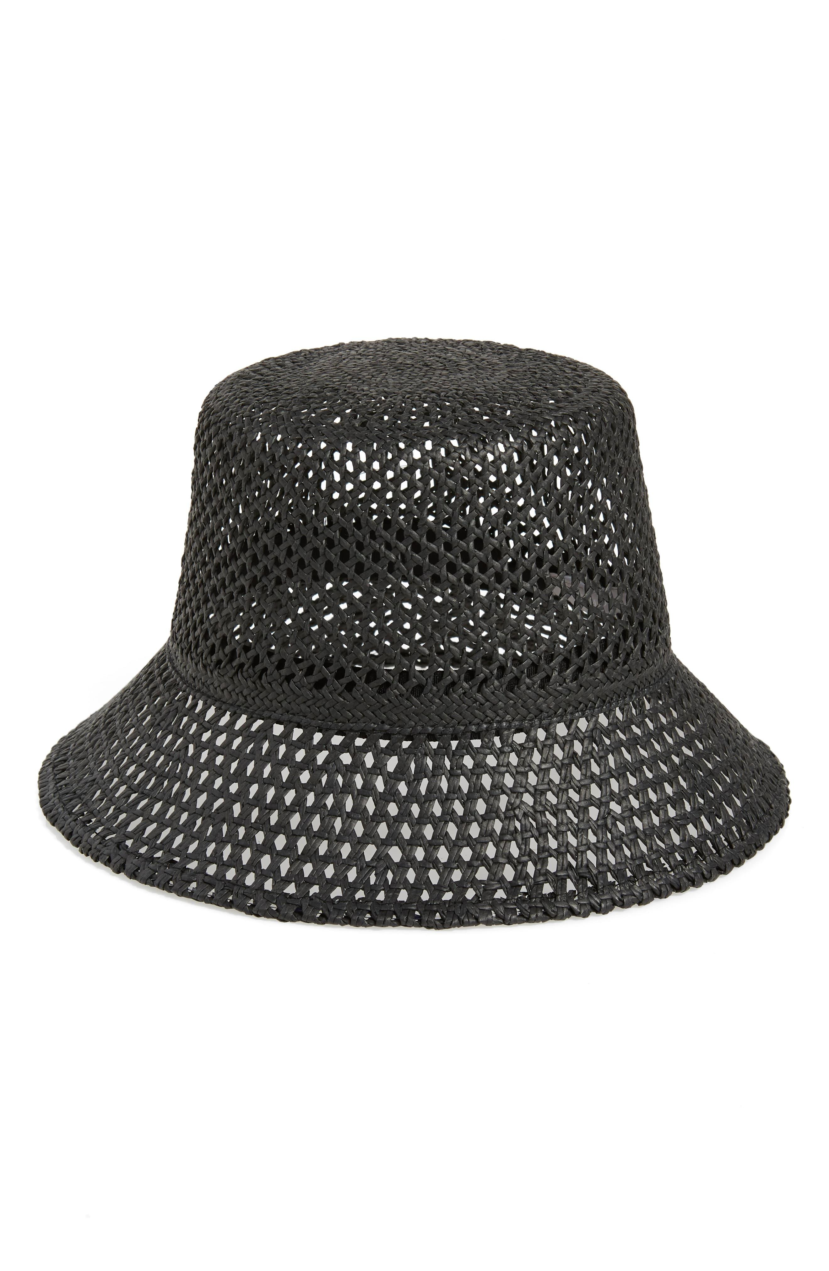 d9fb4bf295efe Nordstrom Open Weave Straw Bucket Hat in Black - Lyst