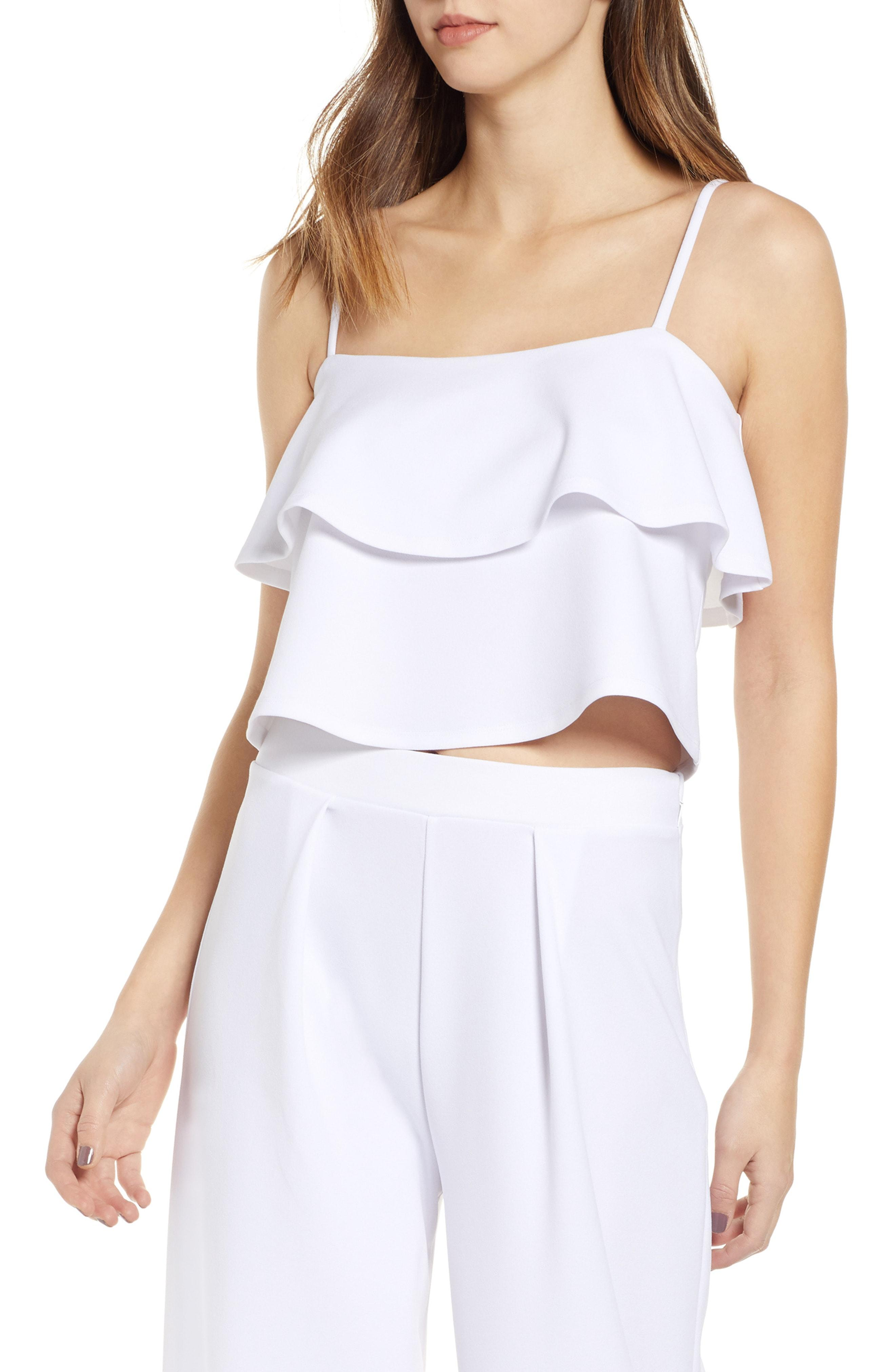 3770c09ced565e Lyst - Leith Tiered Ruffle Camisole in White