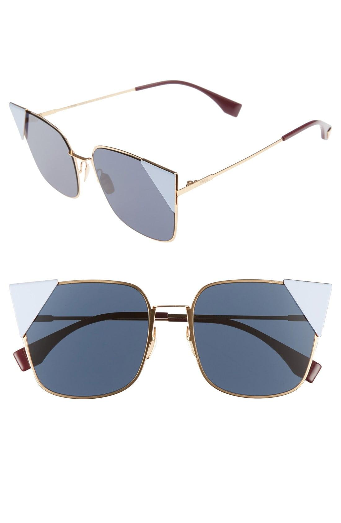 9320741fab0bd Fendi 55mm Tipped Cat Eye Sunglasses in Metallic - Lyst