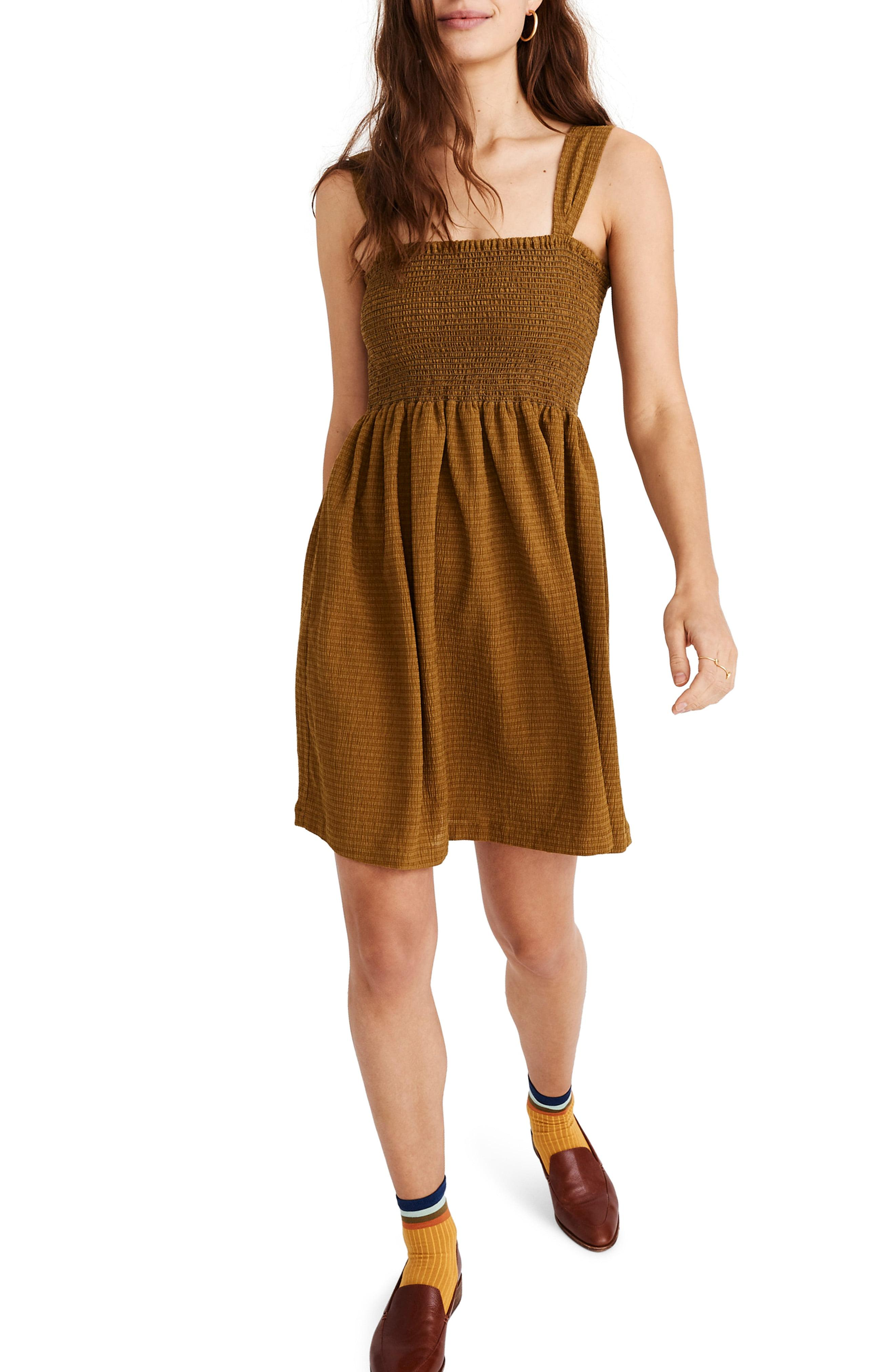 376bb0450d Lyst - Madewell Texture   Thread Smocked Dress in Brown