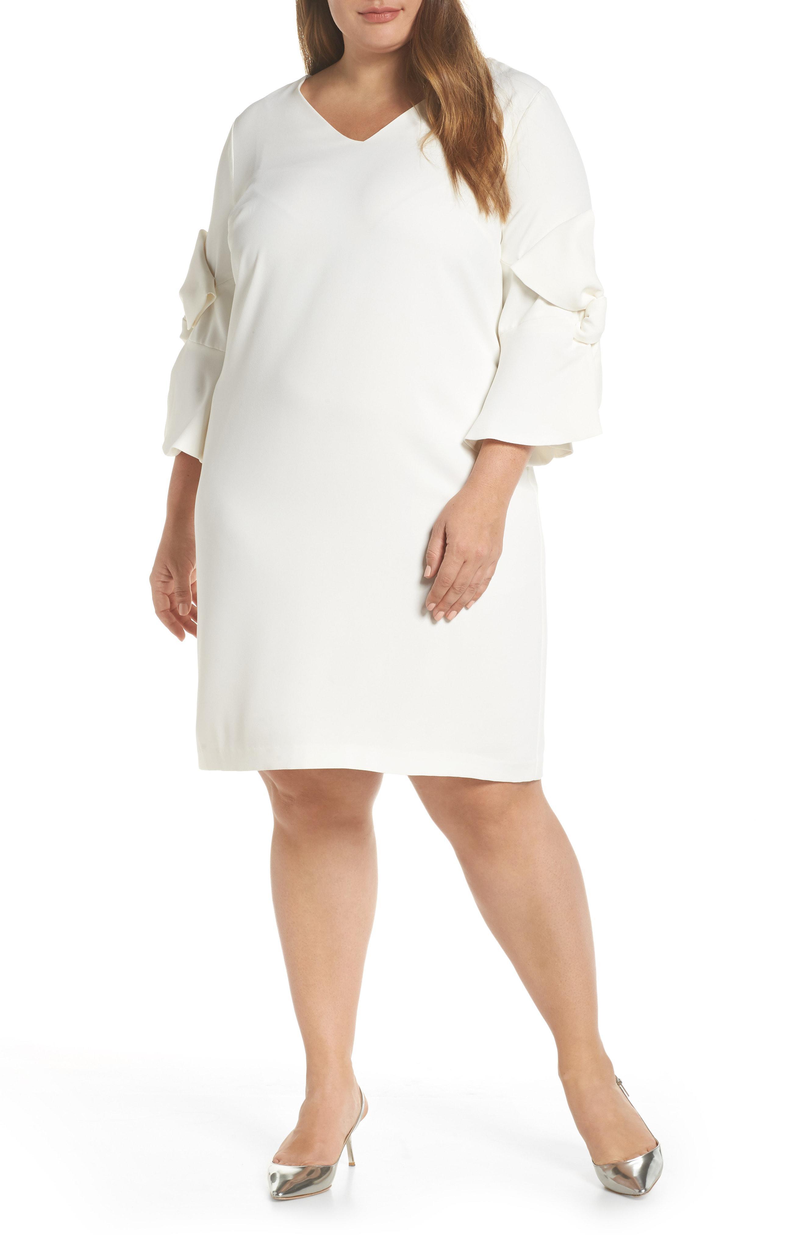 b679e88e79b35 Cece Moss Crepe Bow Shift Dress in White - Lyst