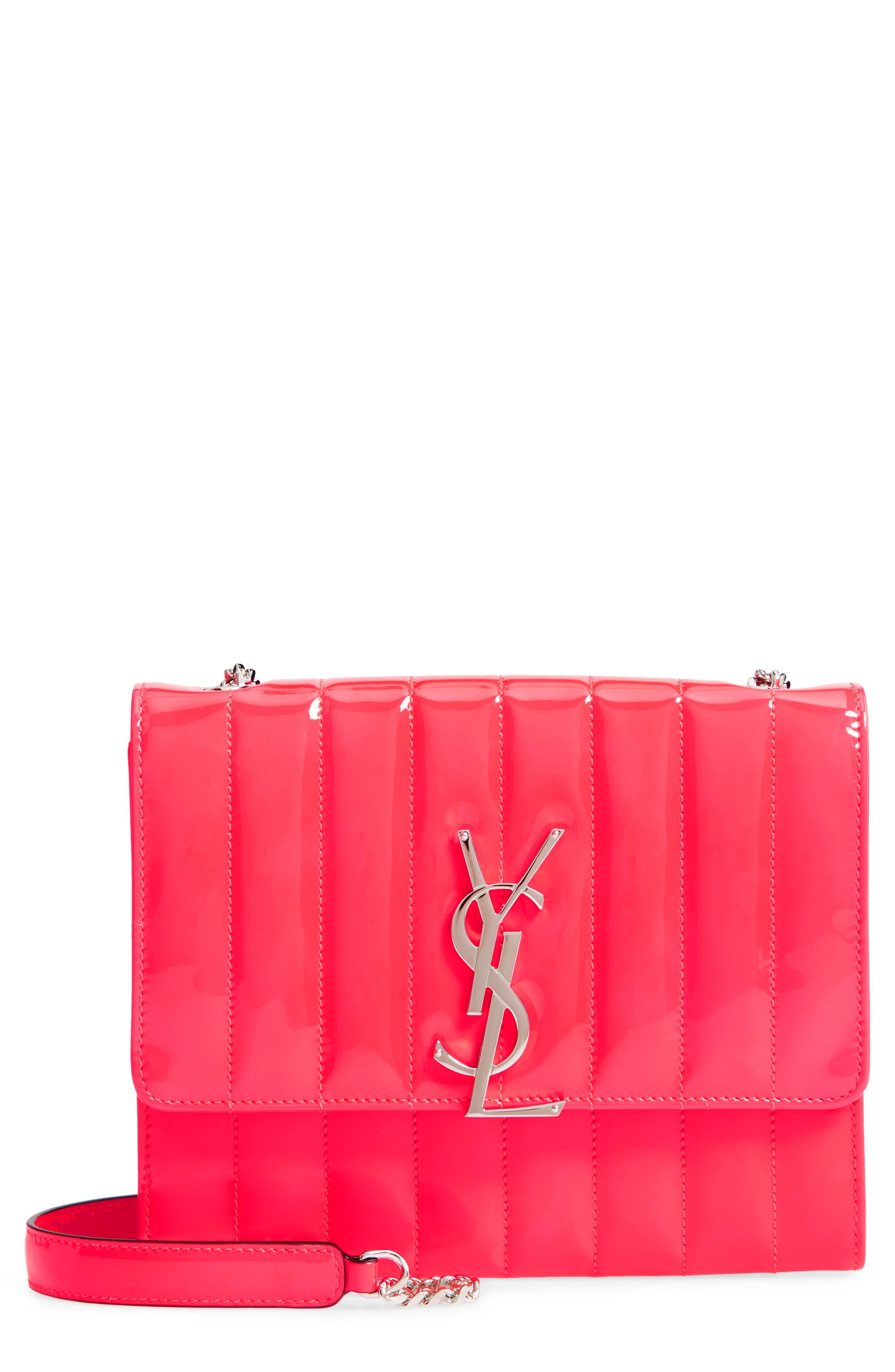 67e76382eee Saint Laurent Vicky Patent Leather Wallet On A Chain - in Pink - Lyst
