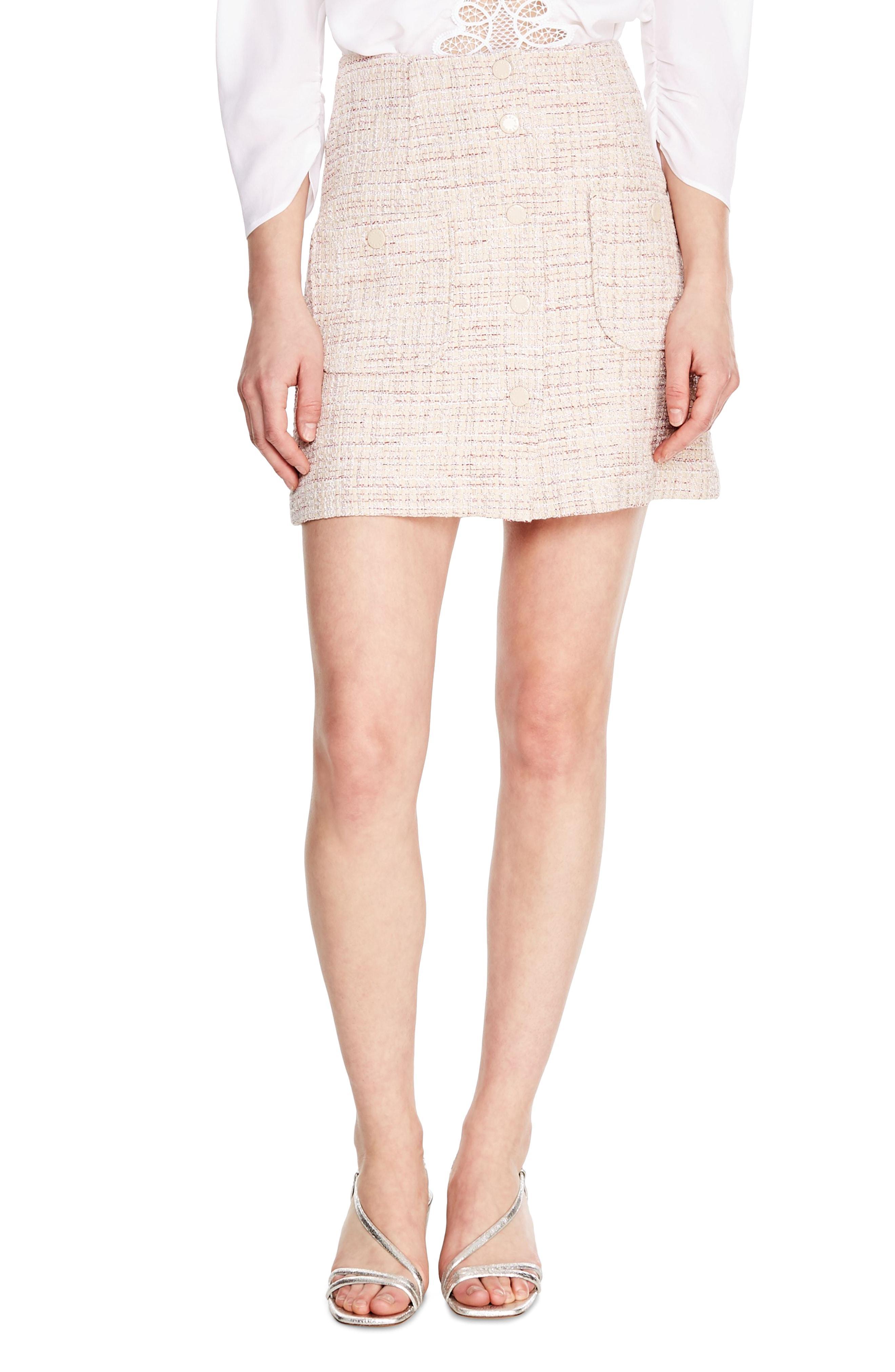 7d3ac1faaef945 Sandro - Pink Agatha Snap Front Tweed Skirt - Lyst. View fullscreen