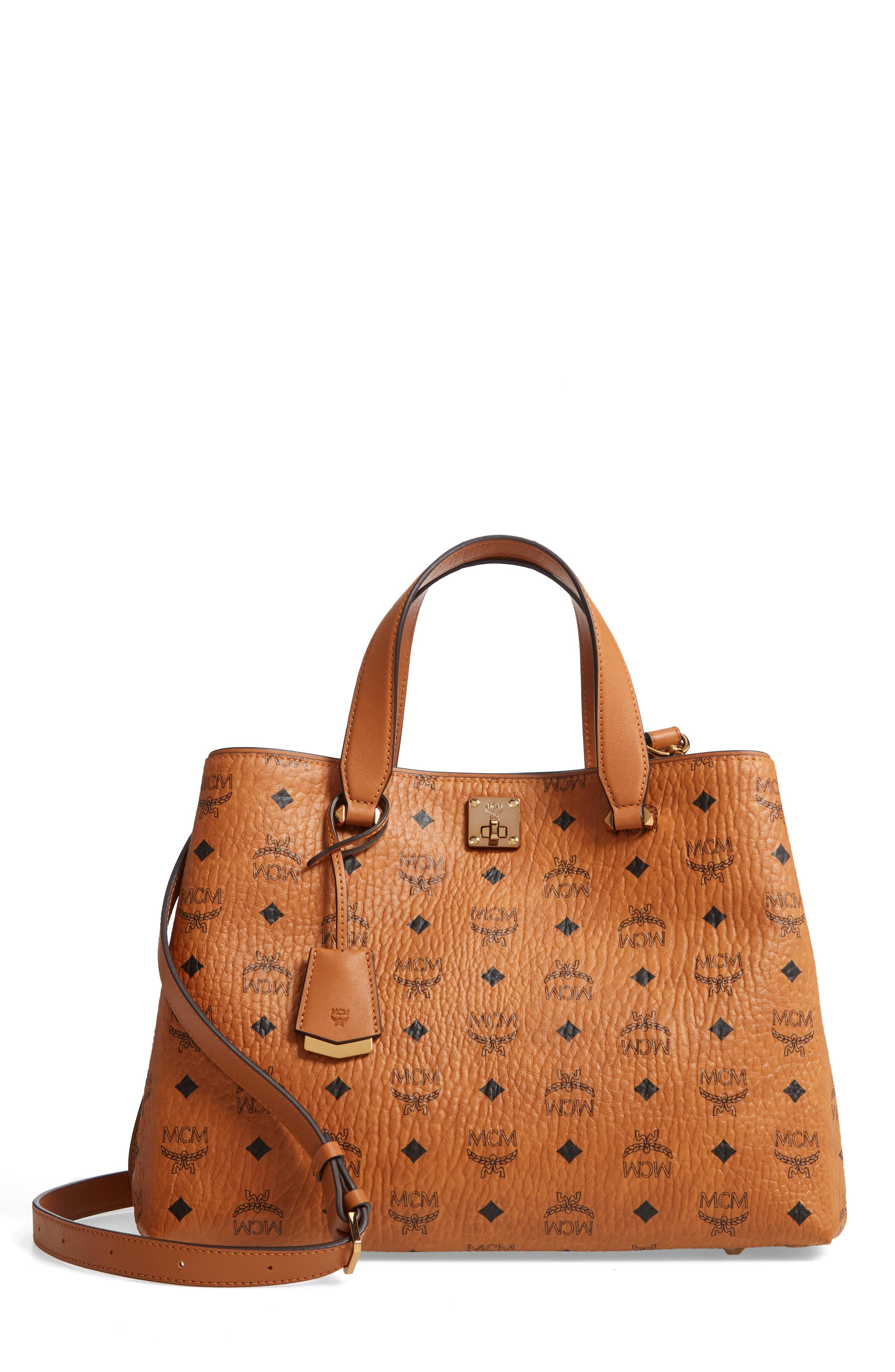 2dc145ed482 MCM Large Visetos Coated Canvas Tote in Brown - Lyst
