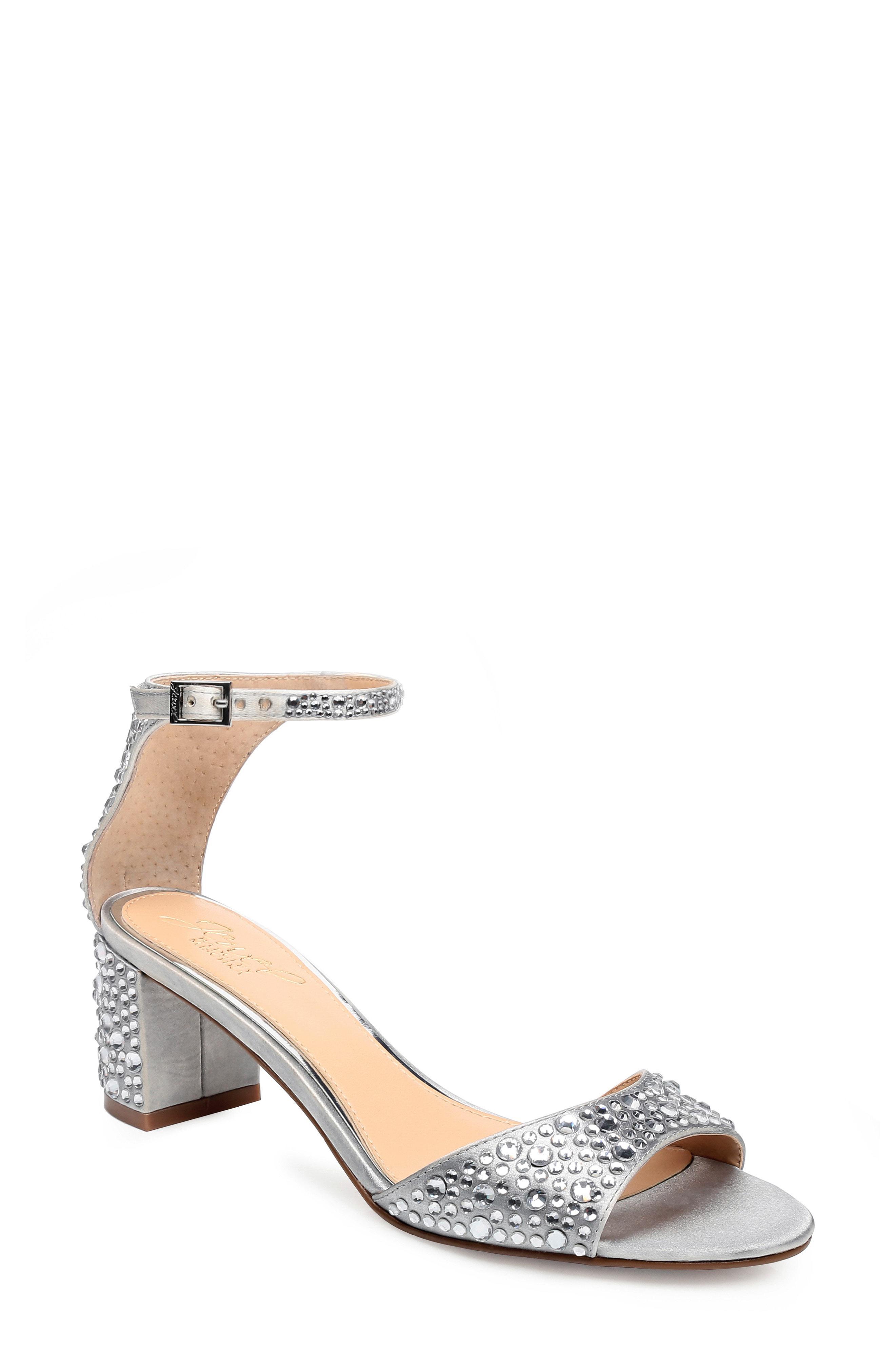 327e9ff4d77 Lyst - Badgley Mischka Crystal Block Heel Sandal in Metallic