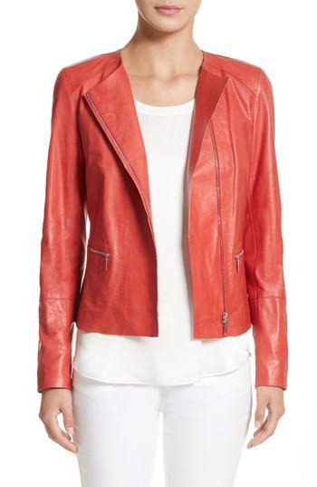 36a4d0121fe Lyst - Lafayette 148 New York Caridee Glazed Lambskin Leather Jacket ...