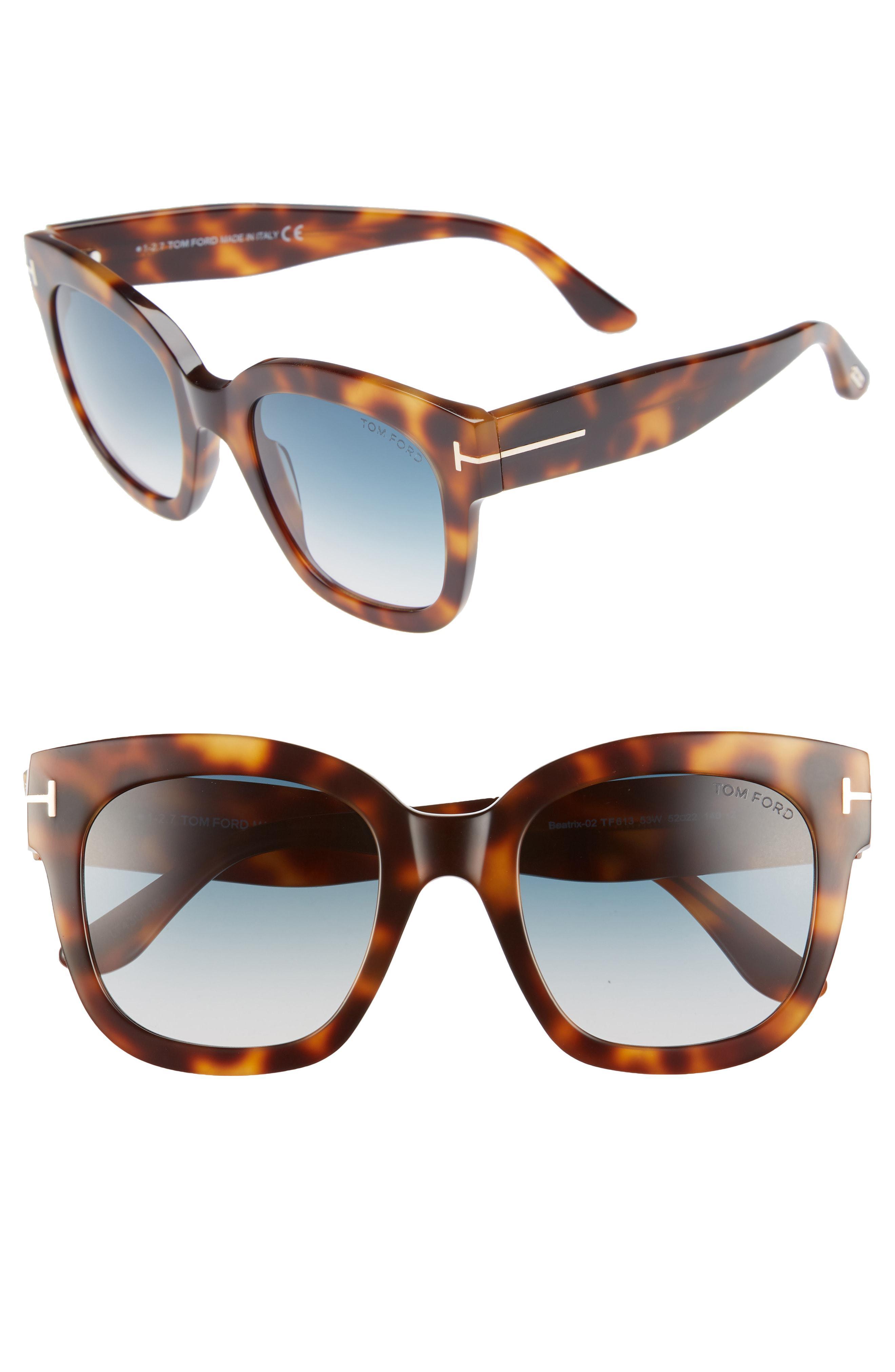 0b5cabb7d5 Tom Ford - Beatrix 52mm Sunglasses - Blonde Havana  Gradient Blue - Lyst.  View fullscreen