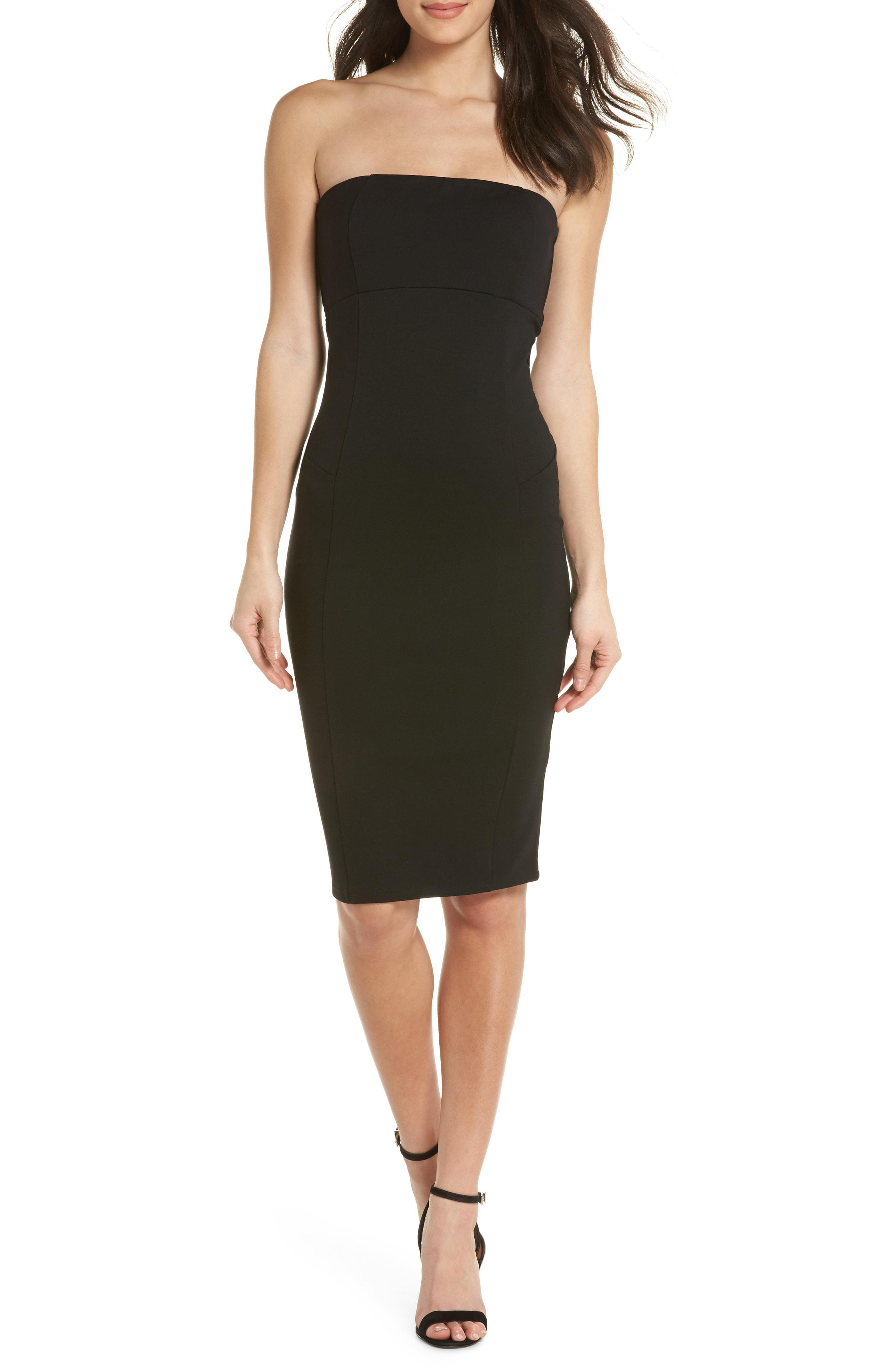 Lyst Felicity Amp Coco Strapless Knit Body Con Dress In Black