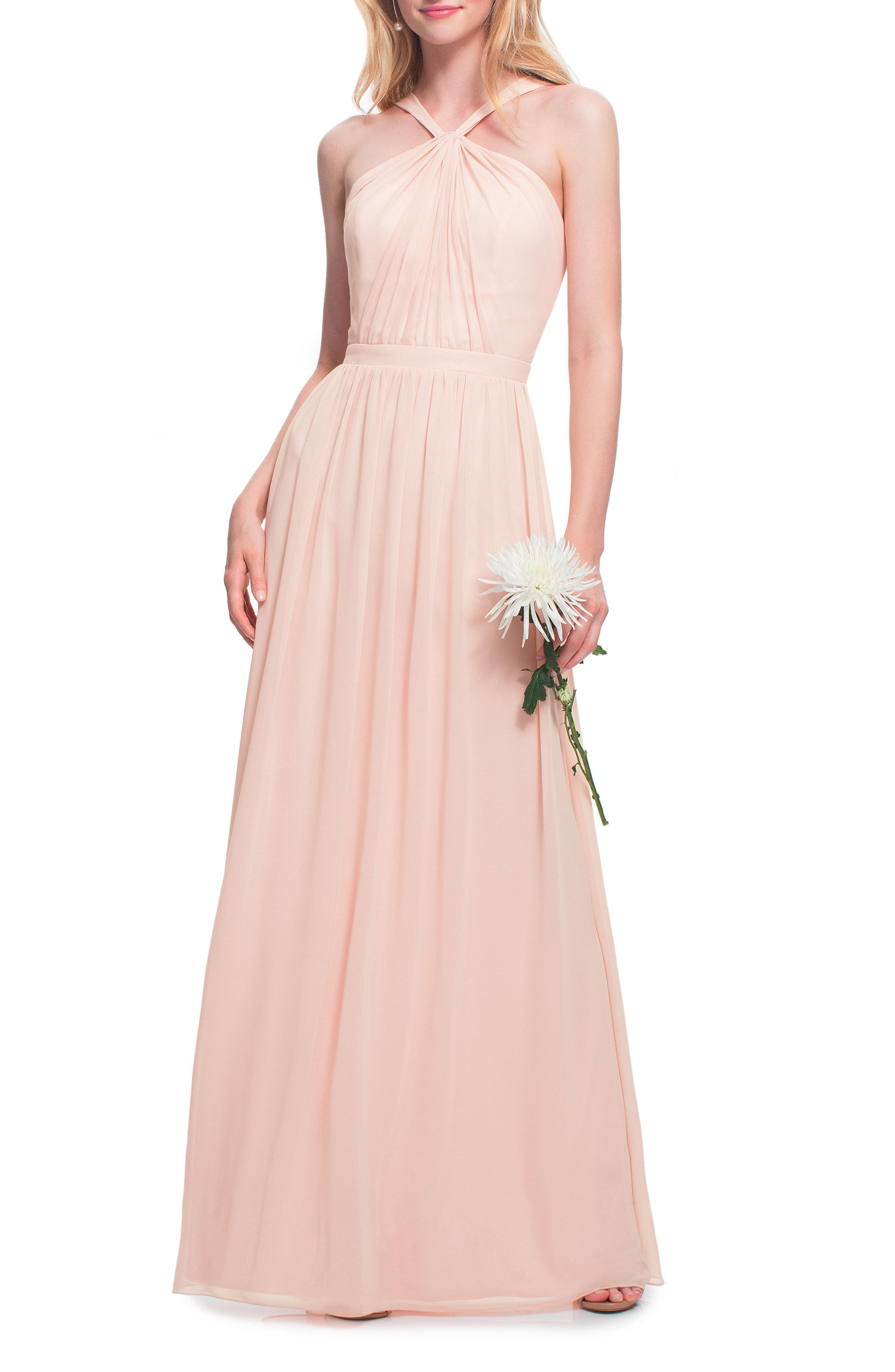 afb2d2ec845 Lyst - Bill Levkoff   Halter Neck Chiffon Gown in Pink