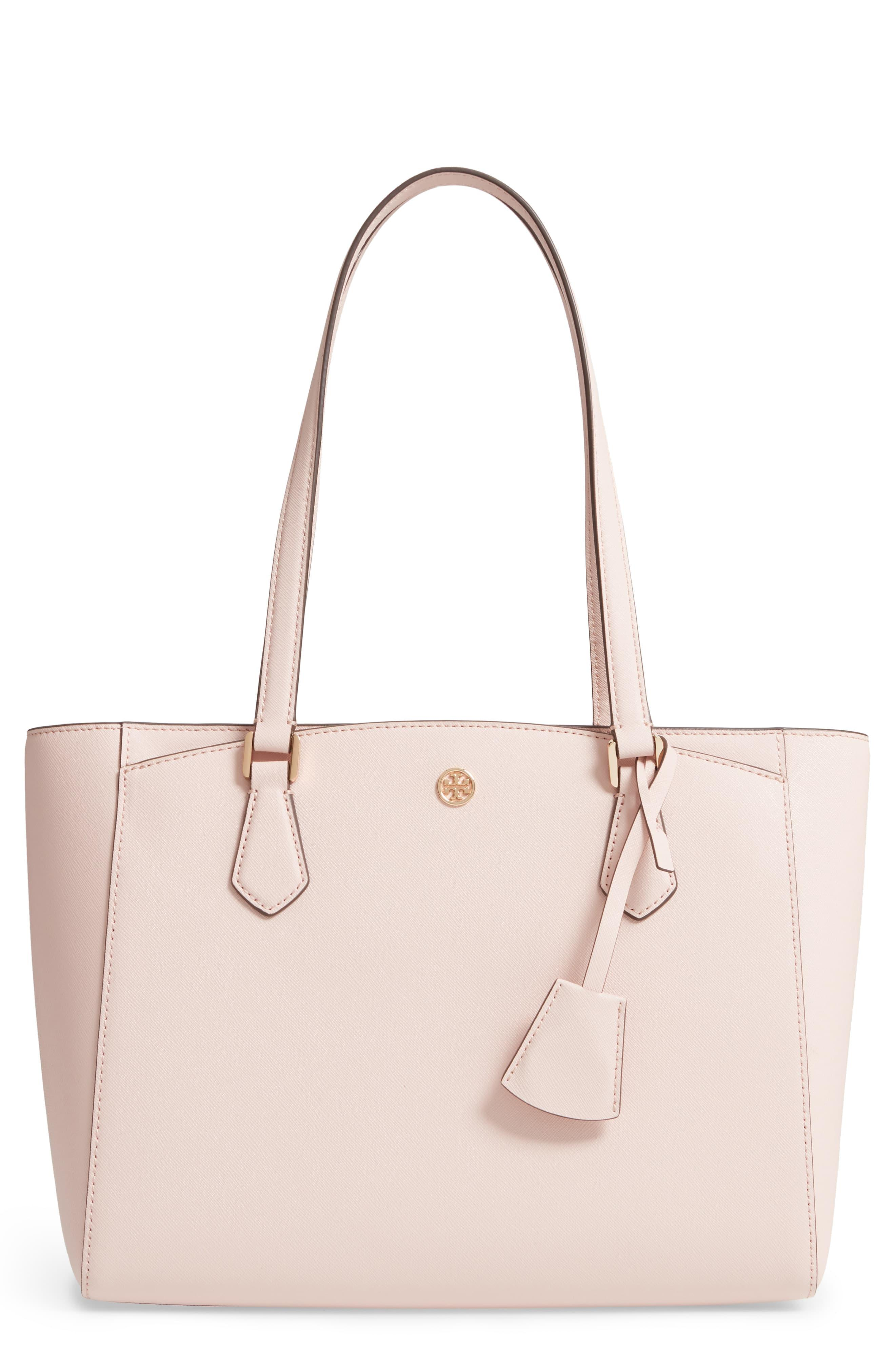 1b47df45a Tory Burch - Pink Robinson Small Saffiano Tote Bag - Lyst. View fullscreen