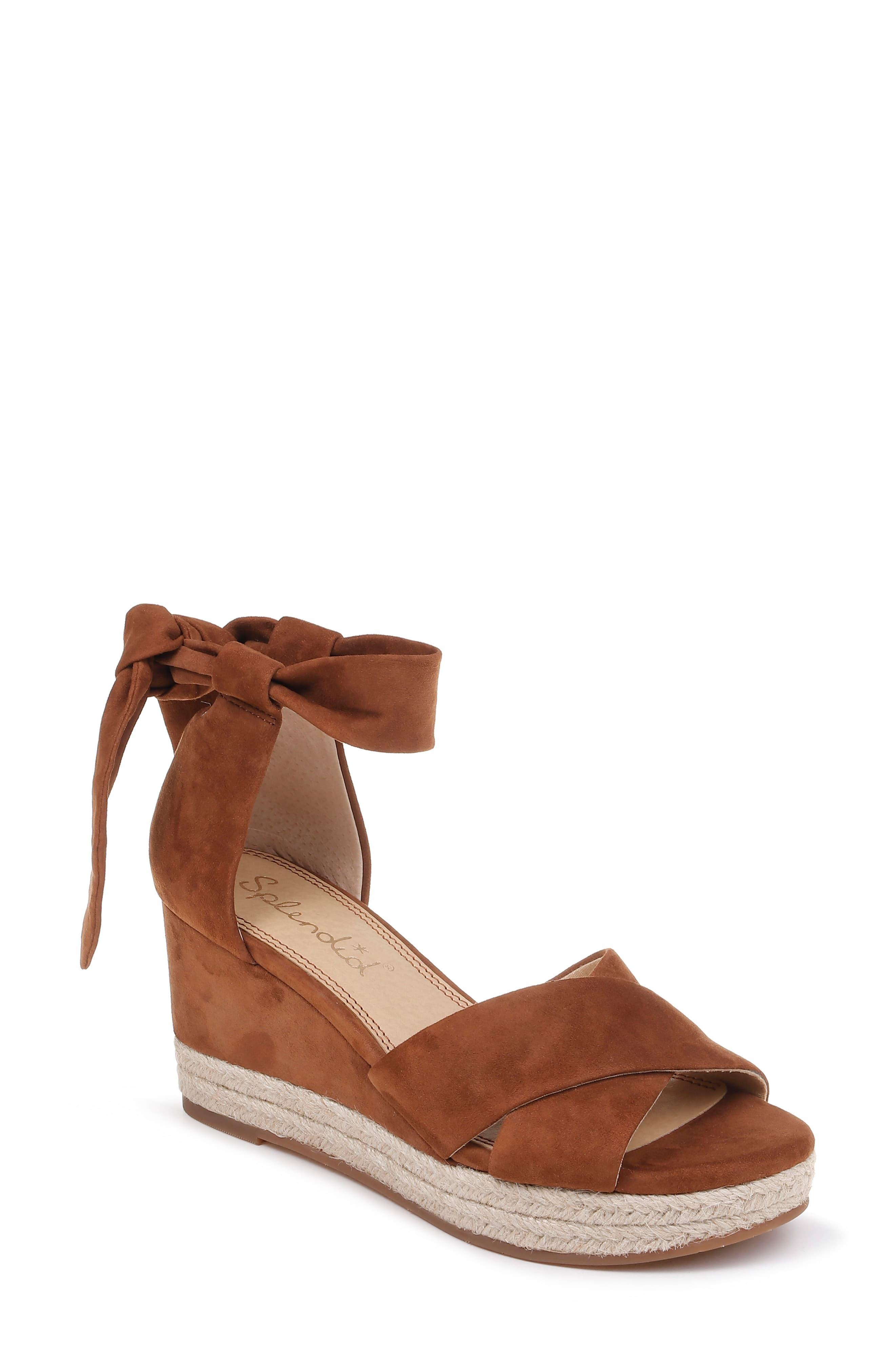 a69a662483 Splendid Terrence Ankle Wrap Wedge Sandal in Brown - Save 30% - Lyst