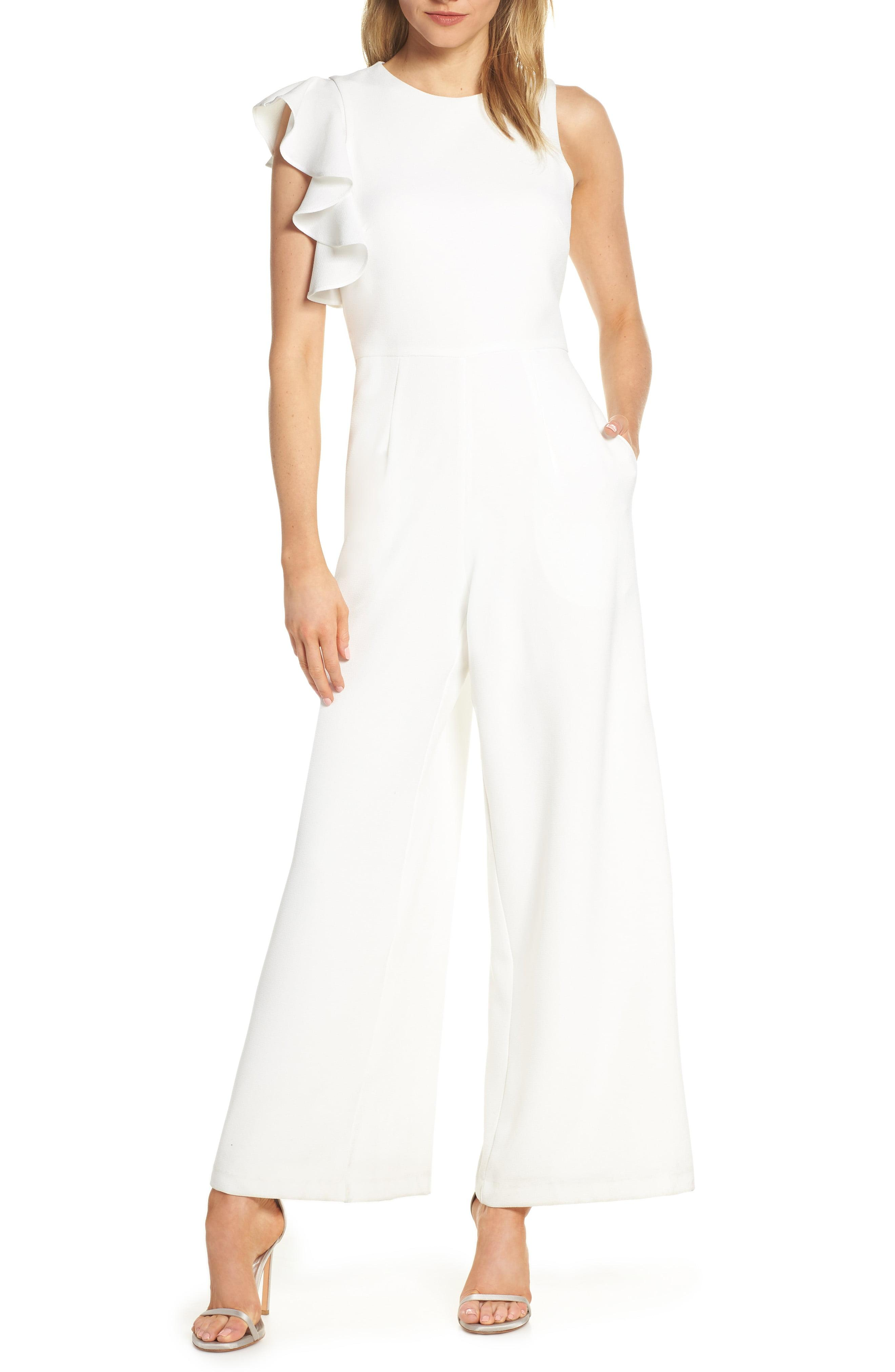 9c12b5d0dbf392 Lyst - Julia Jordan Hunter Crepe Ruffle Shoulder Jumpsuit in White