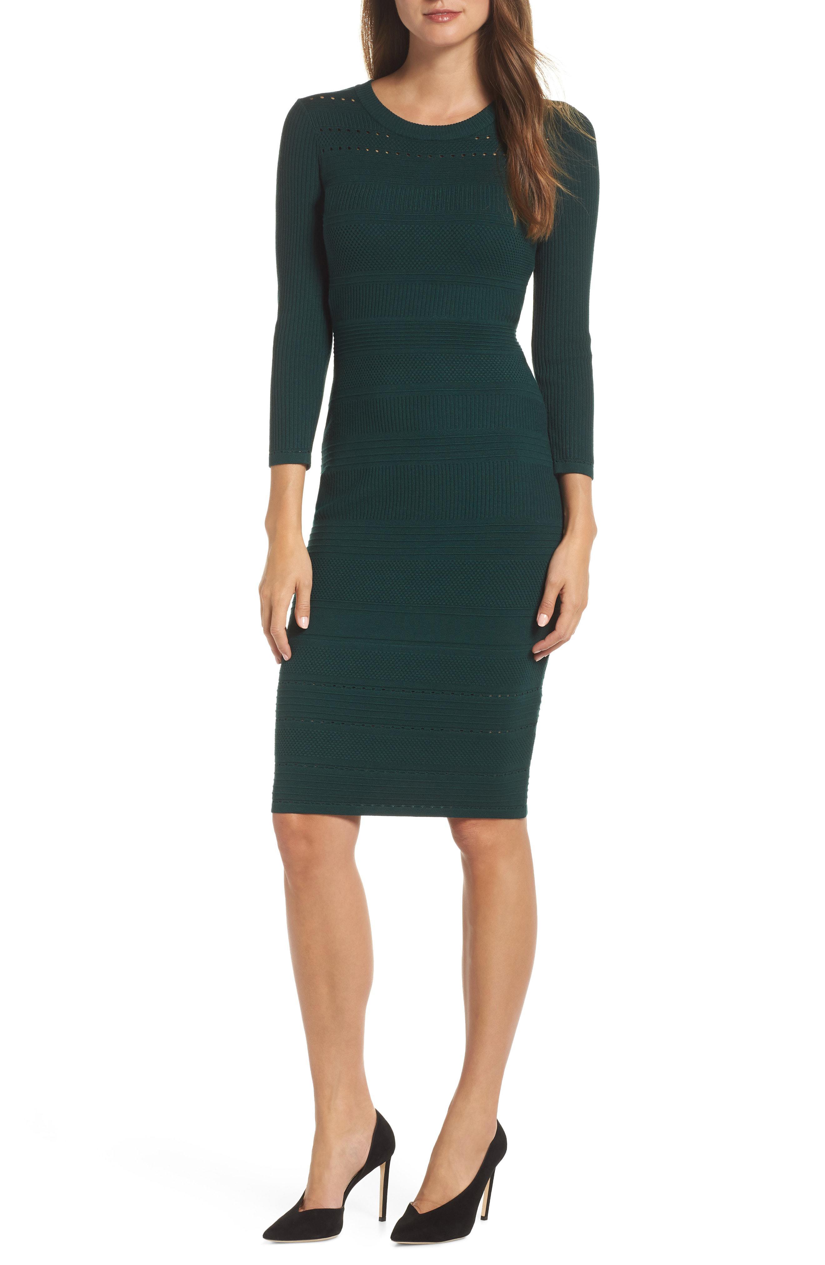 568bd3099f8 Lyst - Eliza J Stitch Detail Sweater Dress in Green