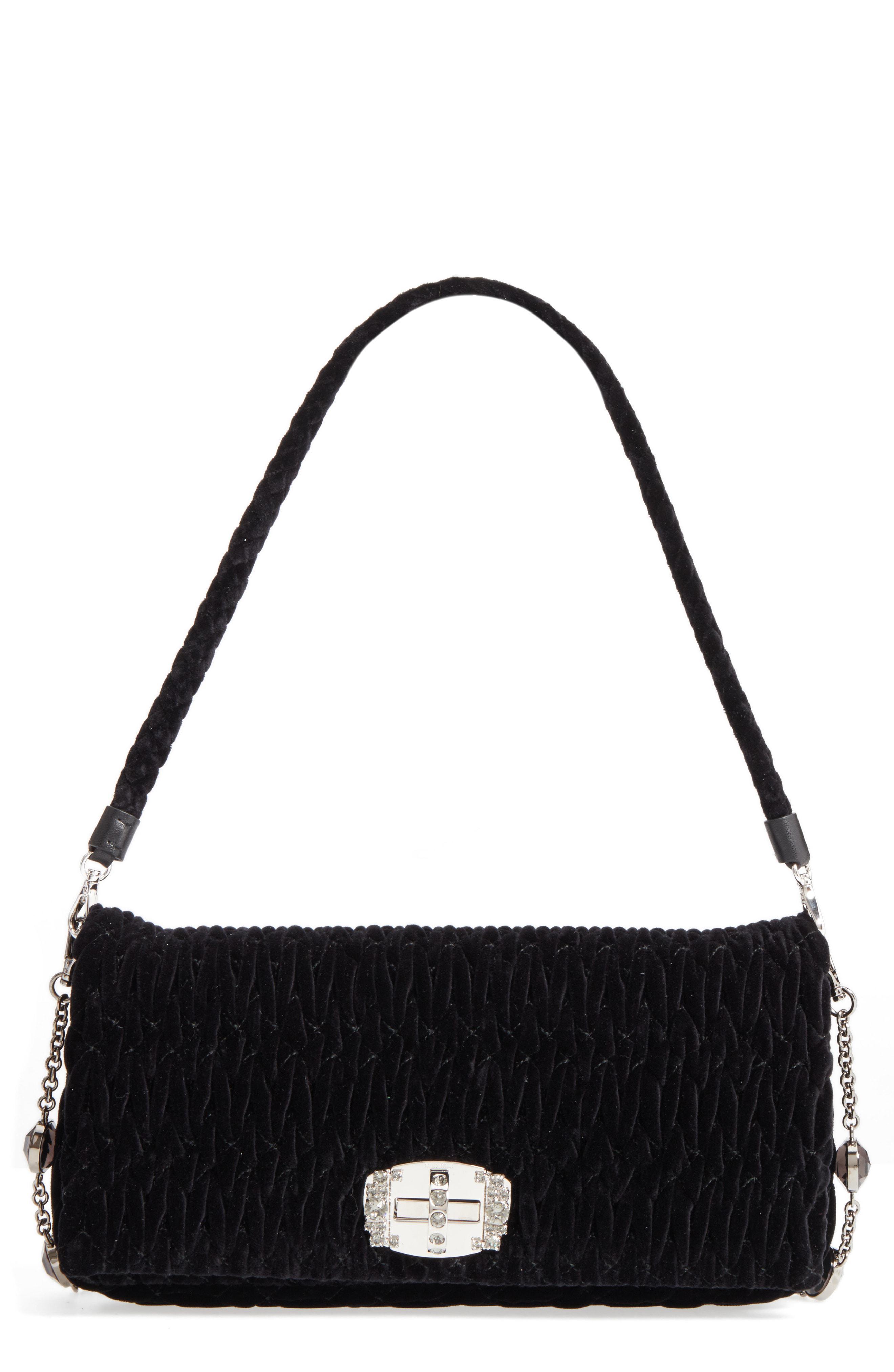 Lyst - Miu Miu Medium Embellished Velvet Shoulder Bag in Red - Save 33% 771d930d83d35