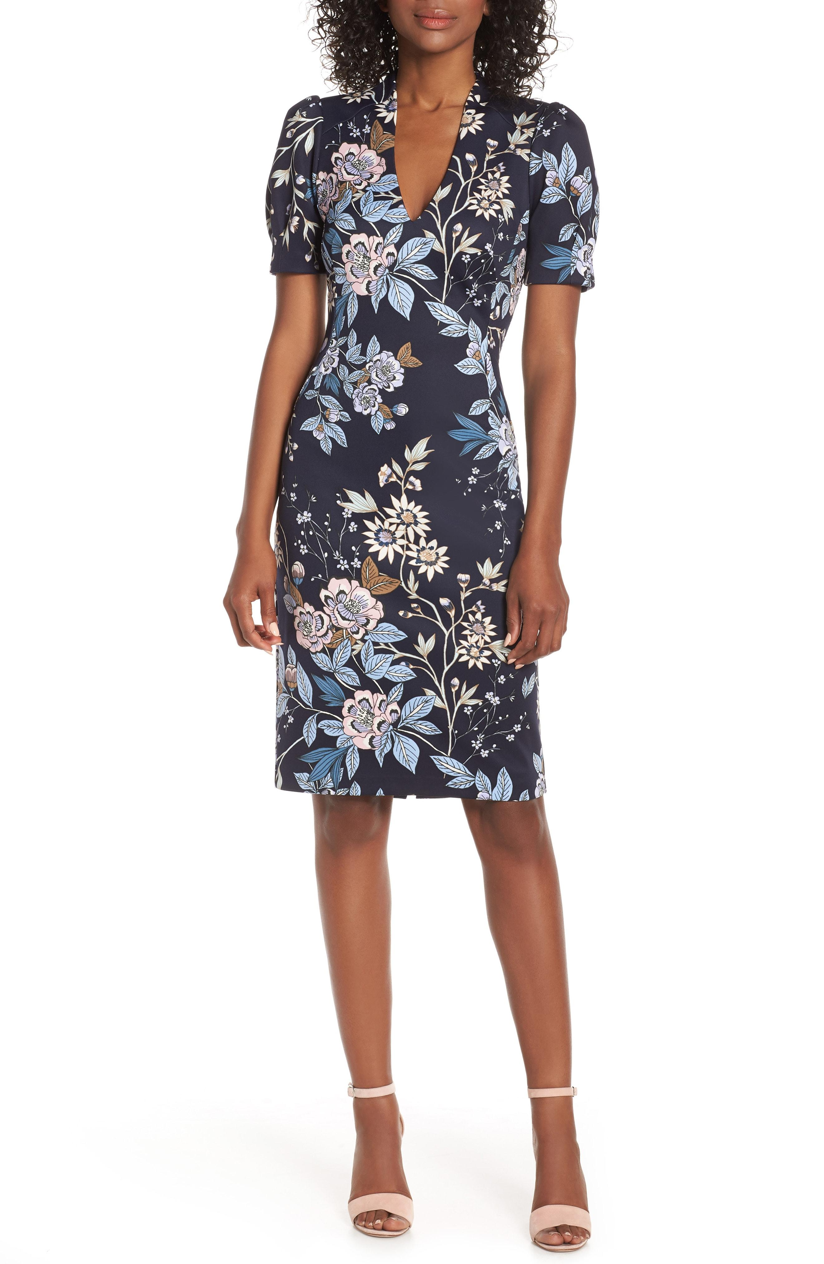 c583f92b Lyst - Vince Camuto Floral Print Scuba Crepe Sheath Dress in Blue