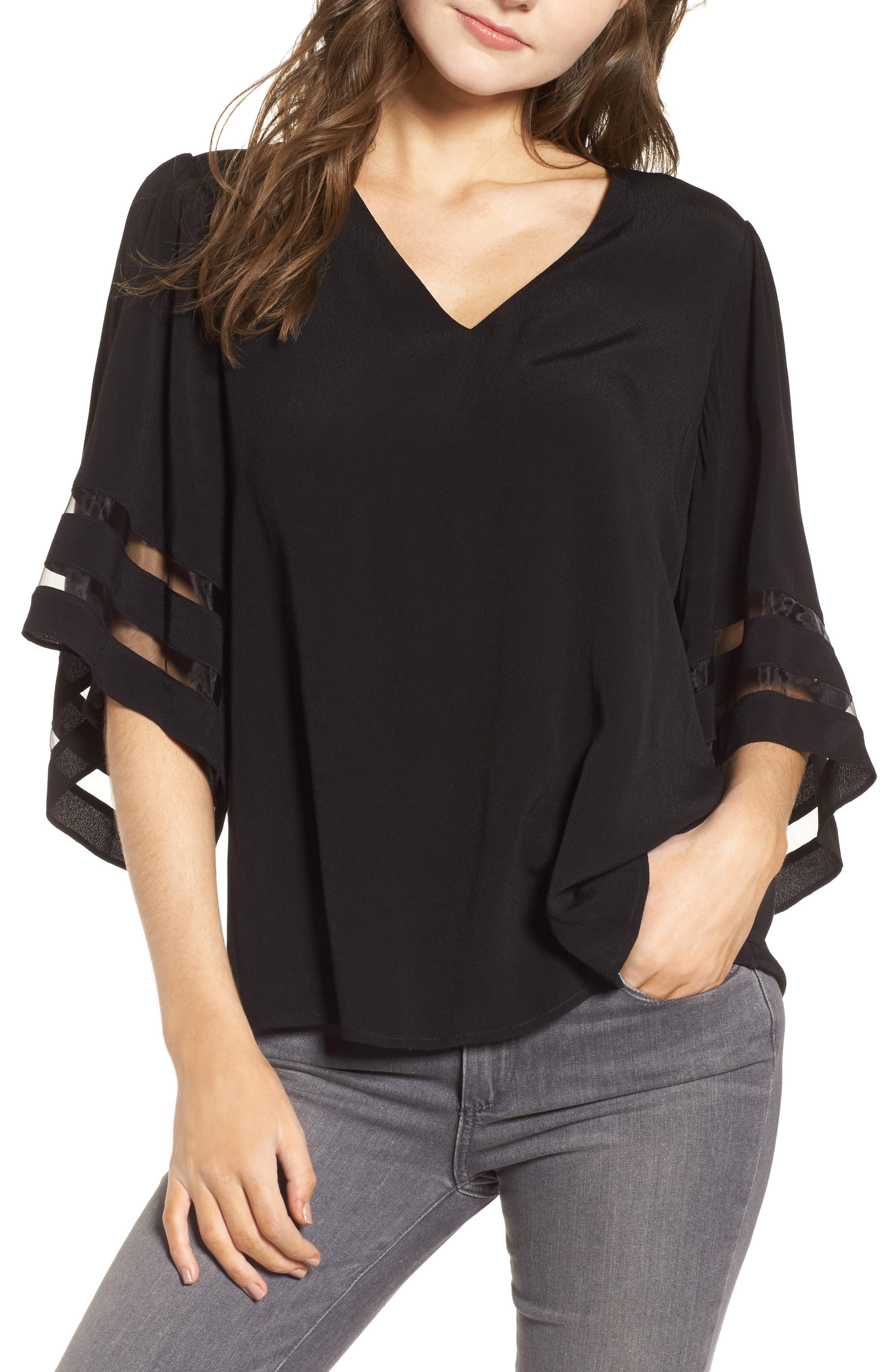 ac8dd22f852 Lyst - Chelsea28 Illusion Sleeve Top in Black - Save 68%