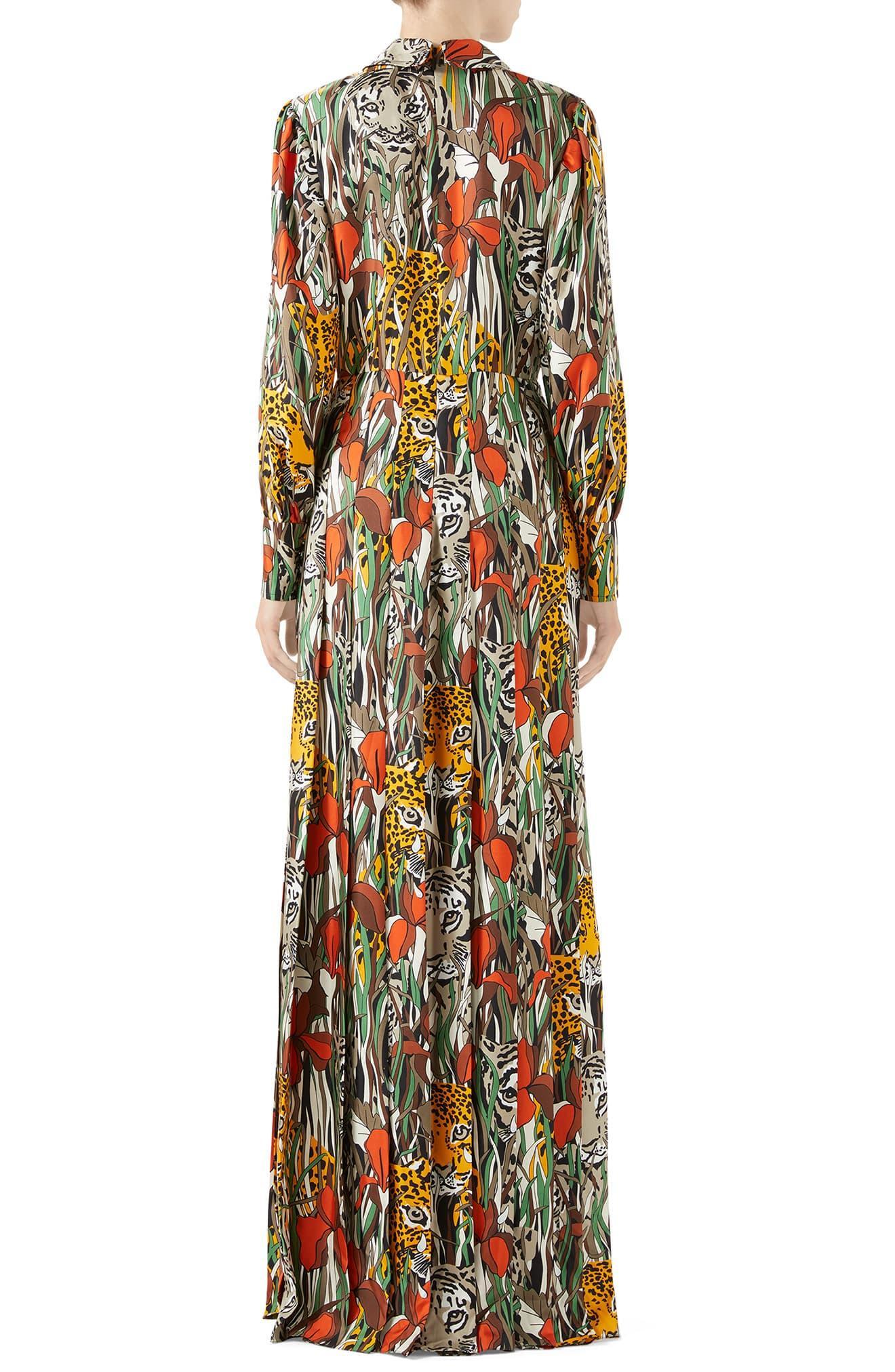 dd9f8fecacca Gucci - Multicolor Feline Garden Print Long Sleeve Silk Dress - Lyst. View  fullscreen