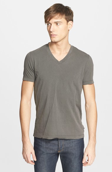 James perse short sleeve v neck t shirt in green for men for James perse t shirts sale