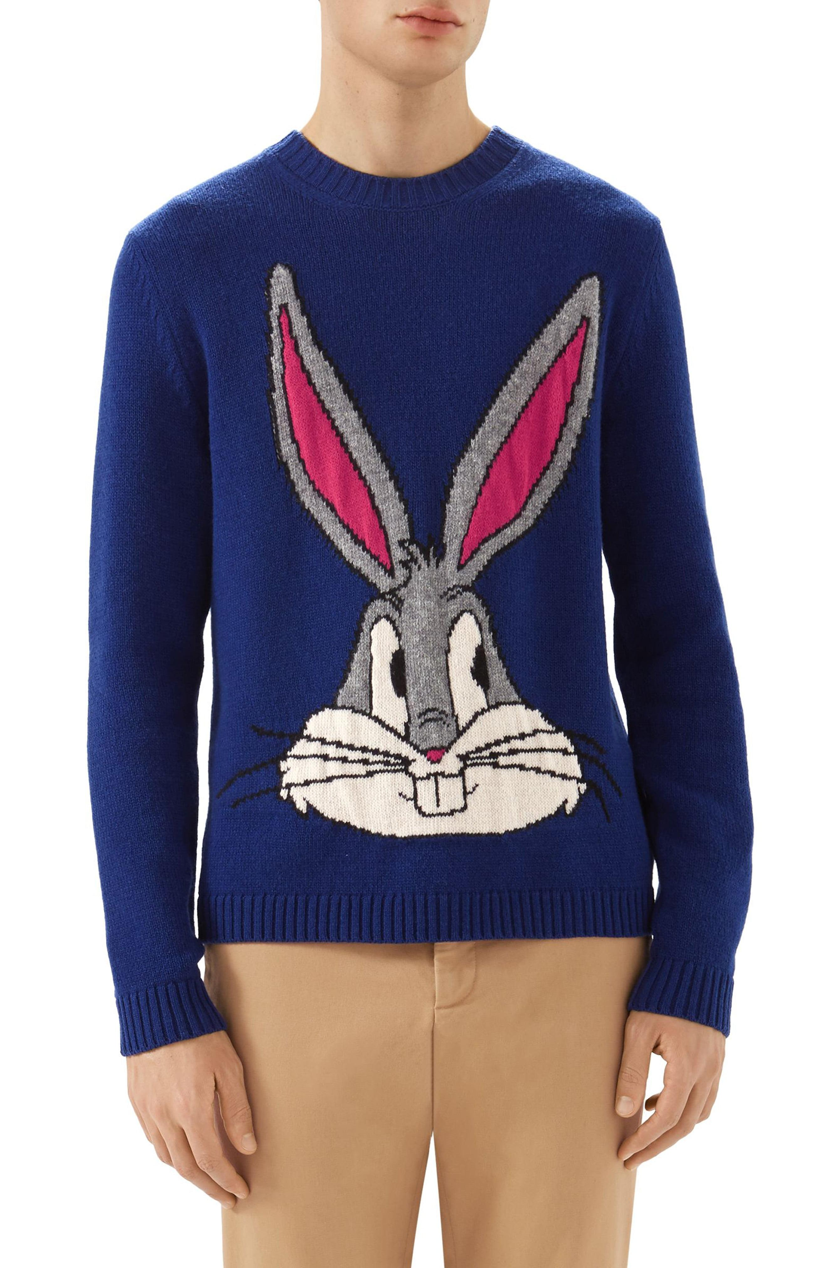 cd118d4a360 Lyst - Gucci Bugs Bunny Wool Sweater in Blue for Men